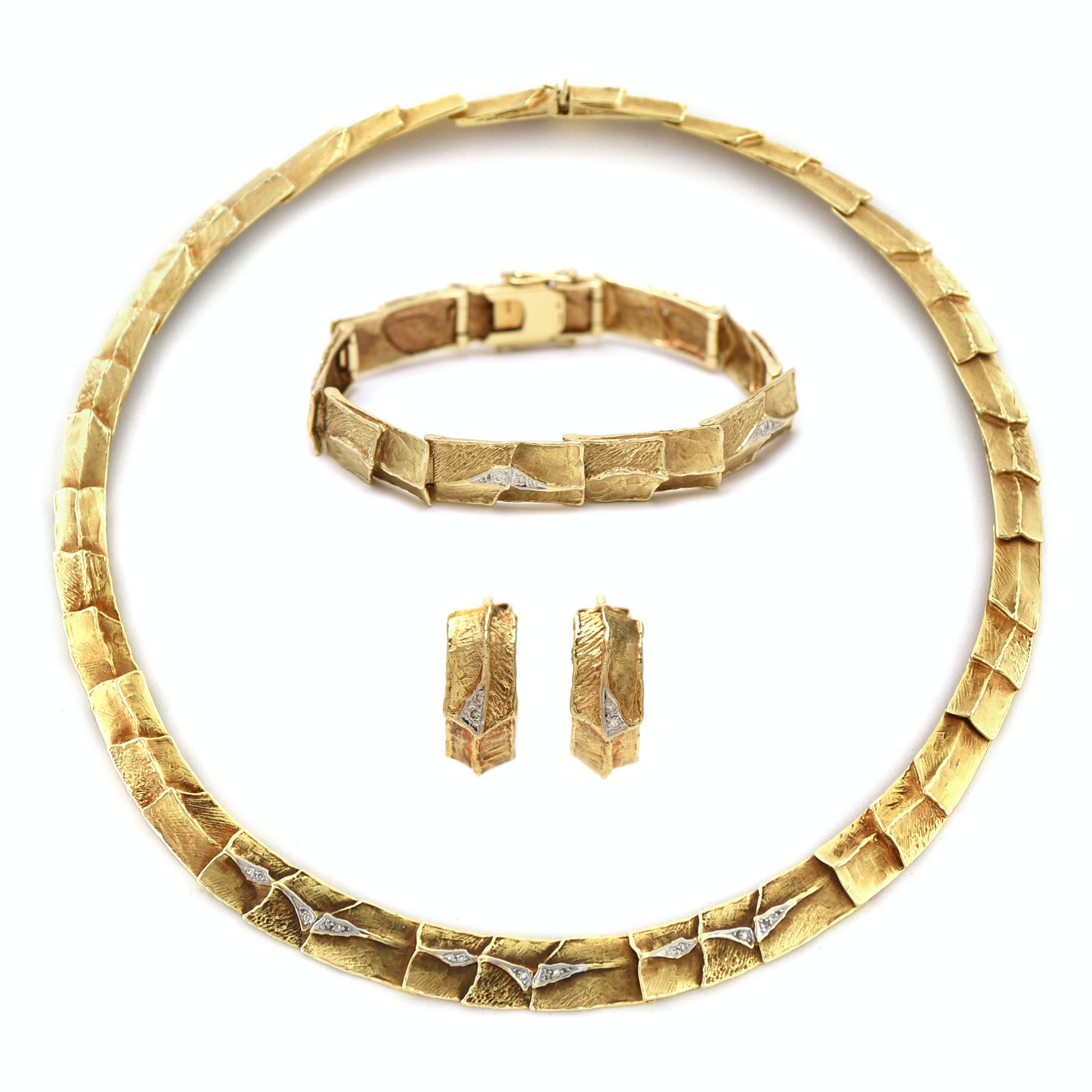 Vintage 14K Yellow Gold Diamond Necklace, Bracelet, and Earring Parure Set