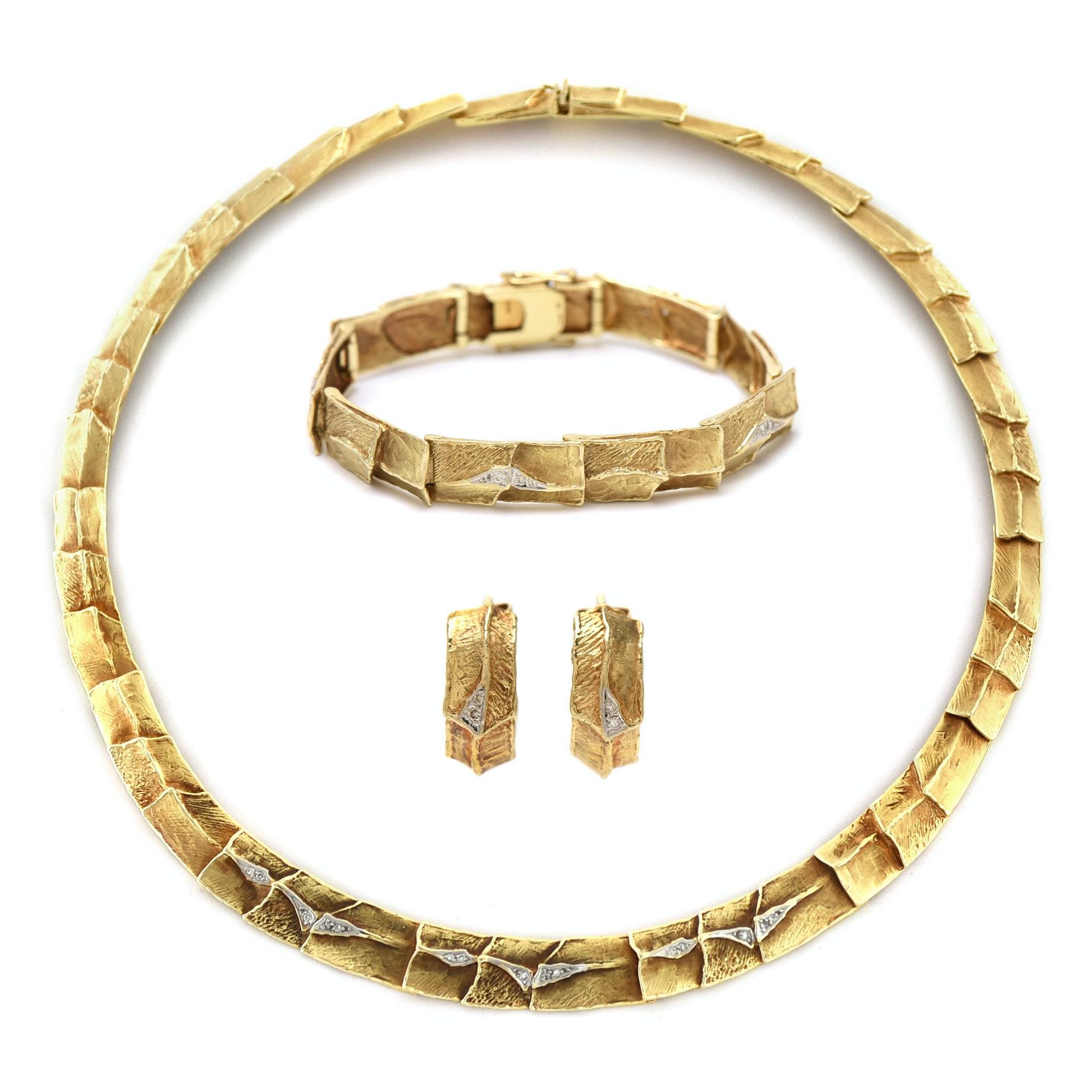Vintage 14K Yellow Gold Diamond Necklace, Bracelet, and Earring Parure Set