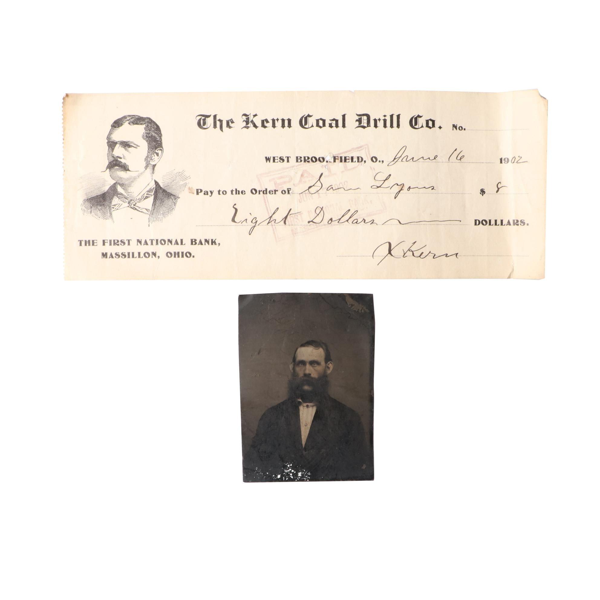19th Century Tintype and 1902 Coal Receipt