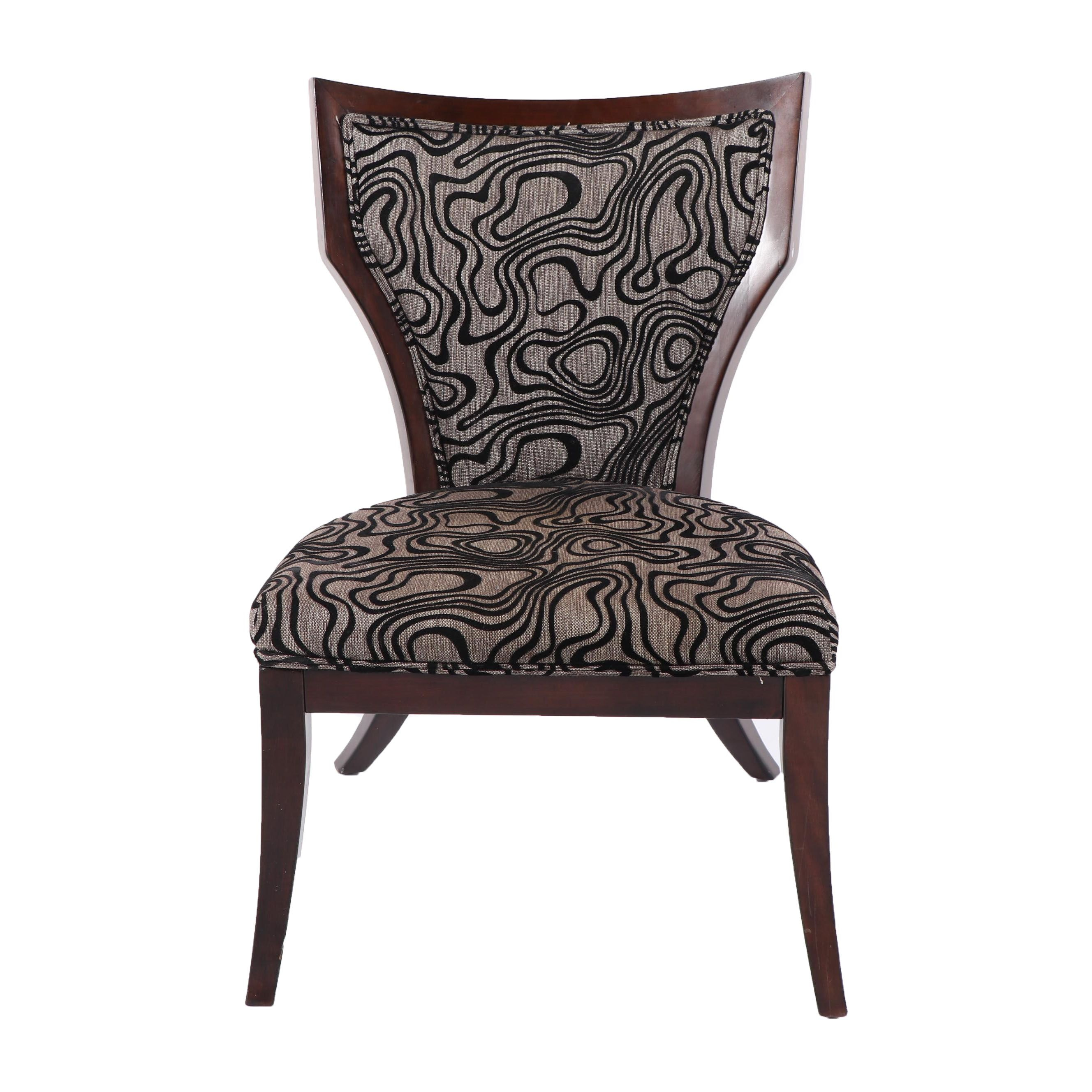 Grey and Black Upholstered Klismos Style Chair