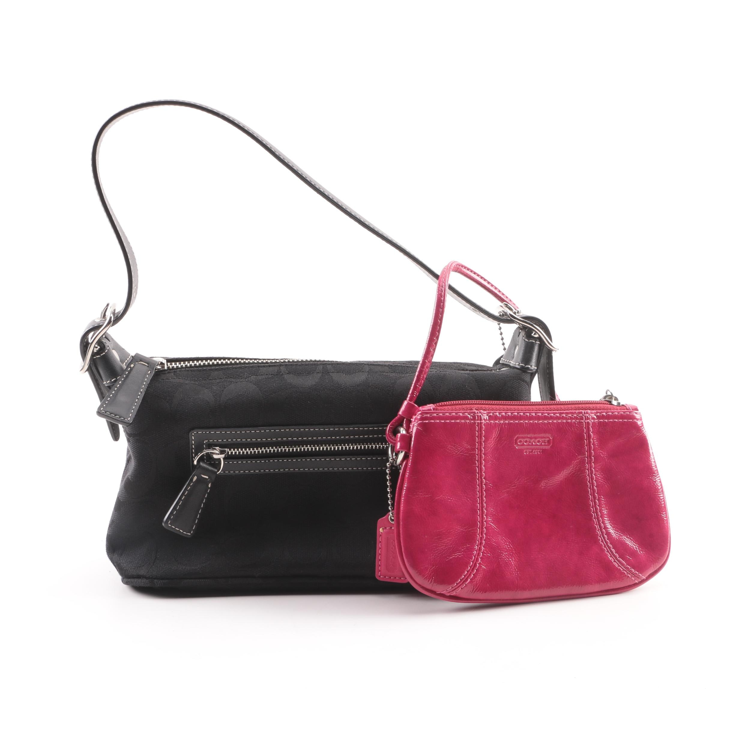 Coach Signature Black Canvas Demi Hobo Bag with Pink Patent Leather Wristlet