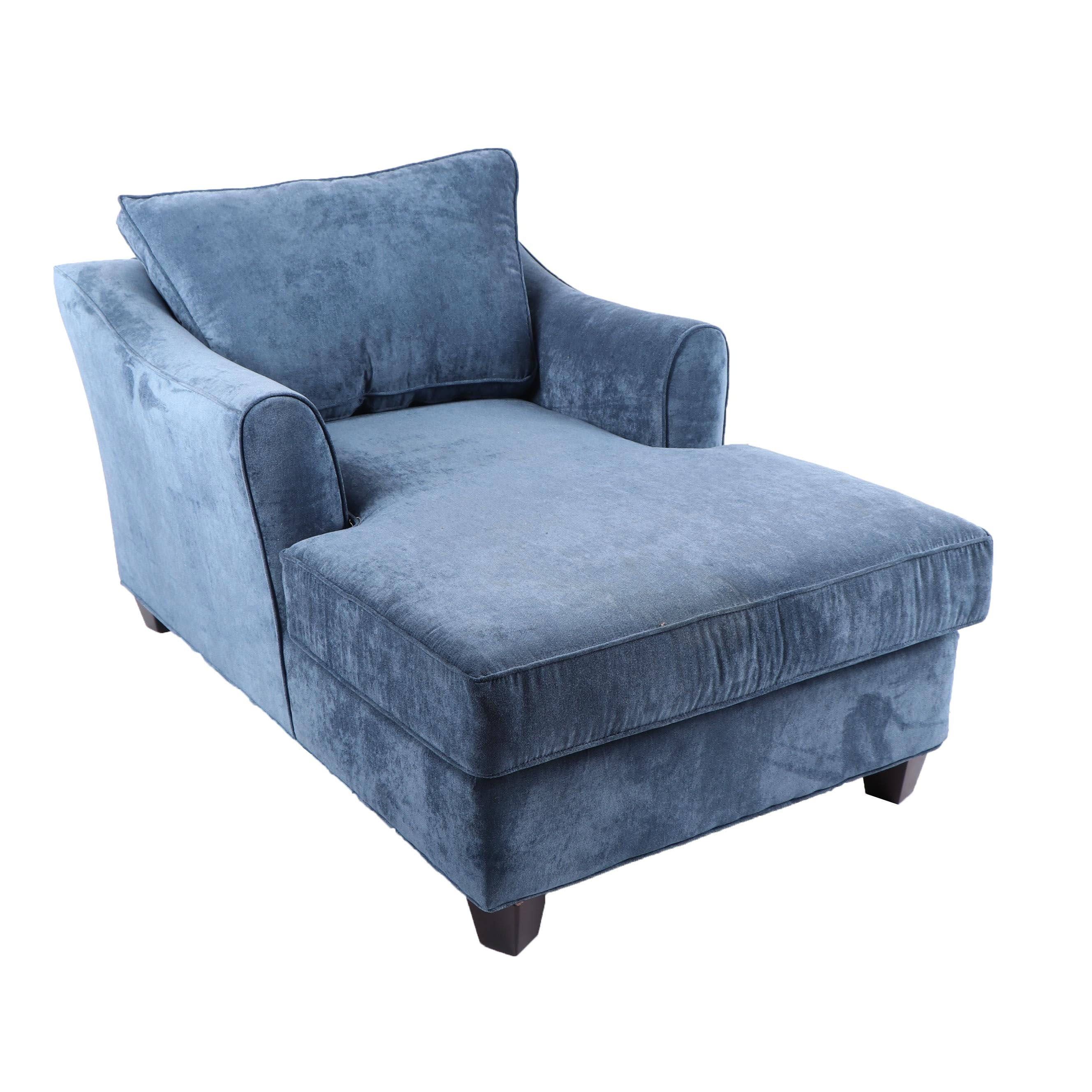 Blue Chenille Armchair Chaise Lounge