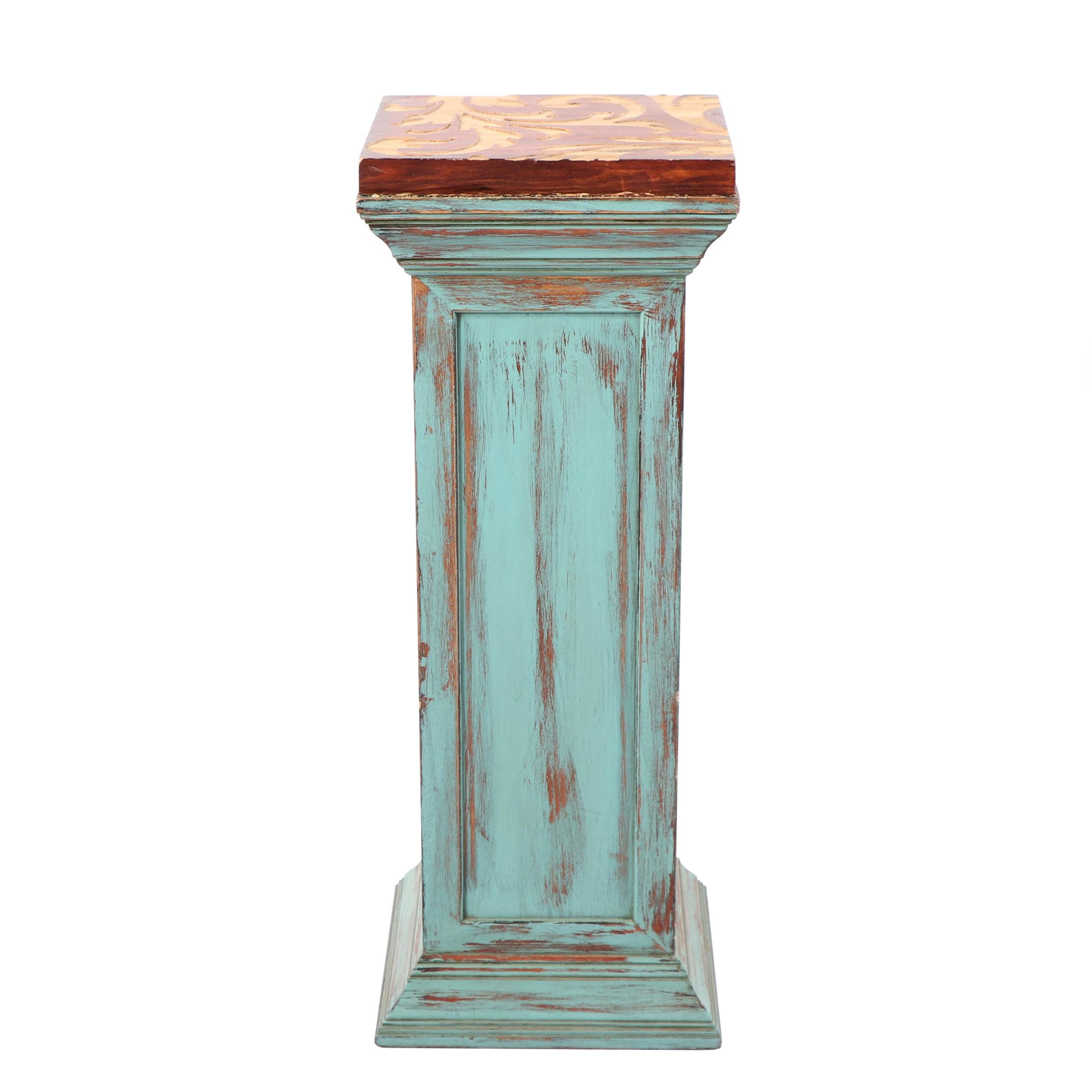 Rustic Wooden Pedestal Plant Stand