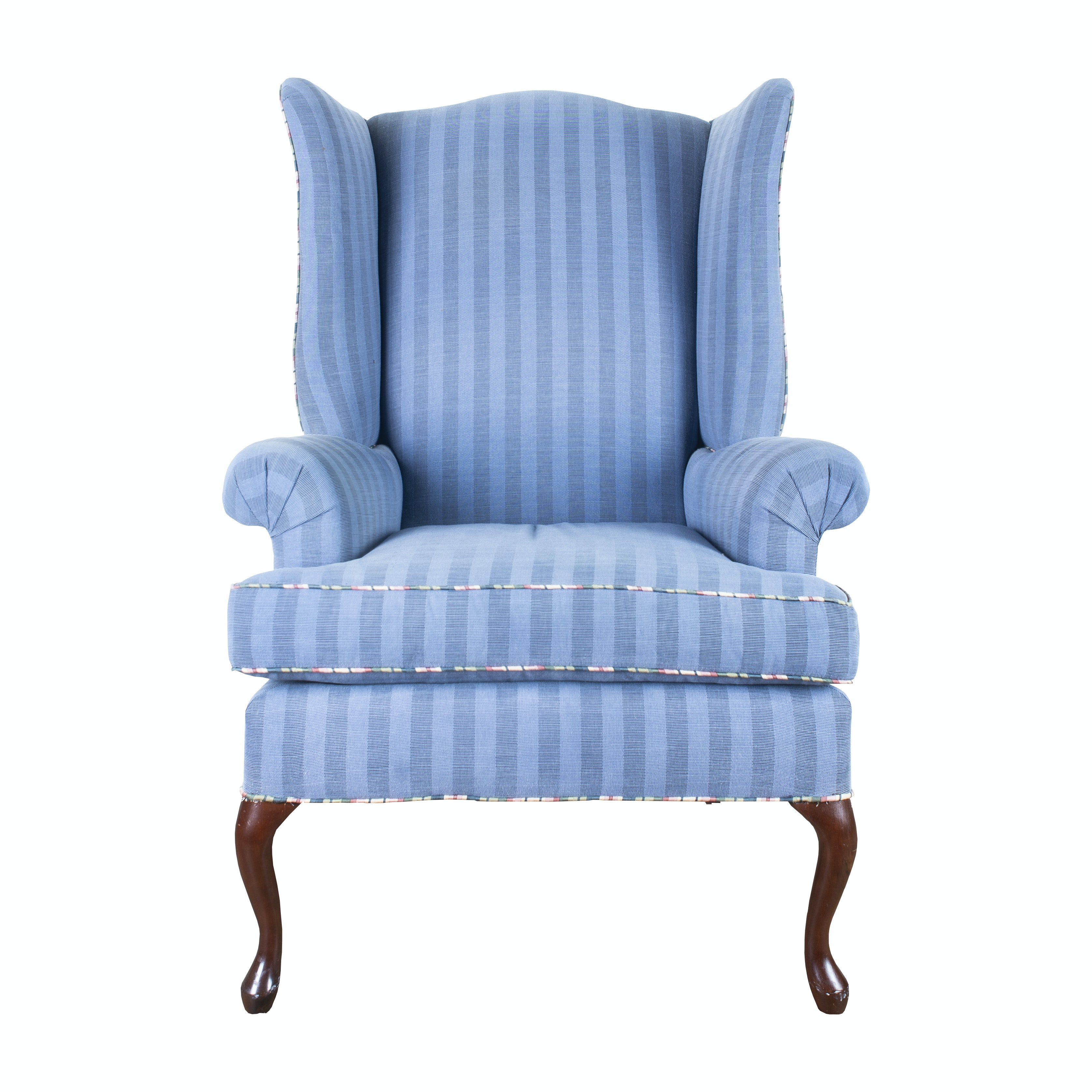 Gentil Blue Striped Wingback Chair ...