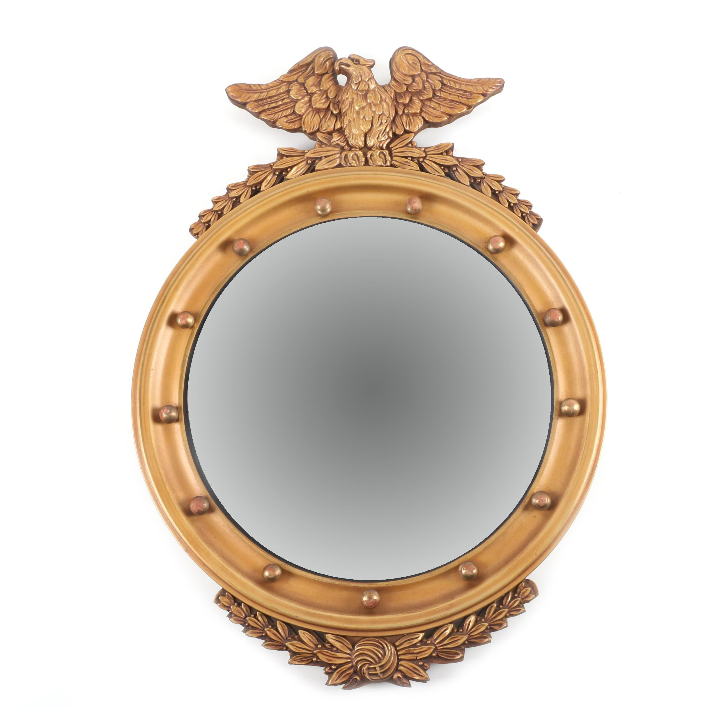 Vintage Federal Style Gold-Toned Convex Wall Mirror with Eagle Crest