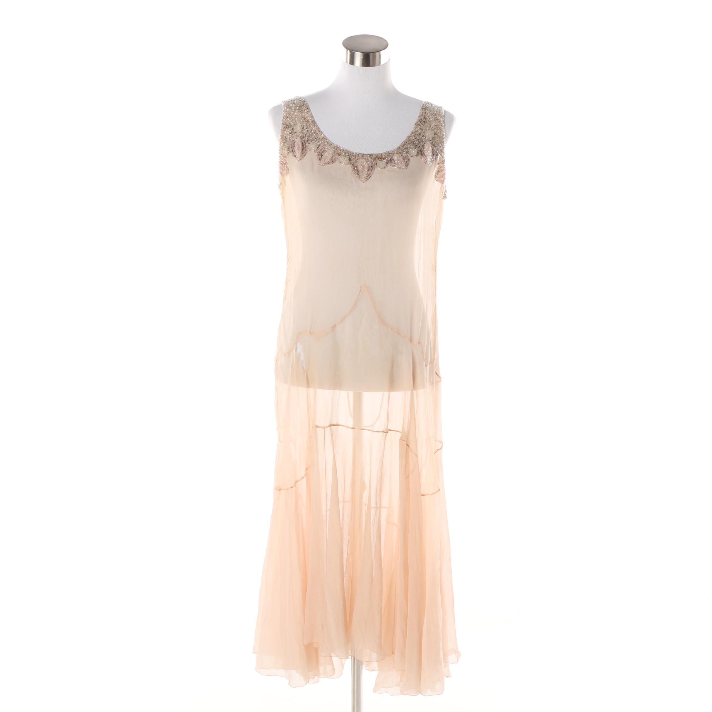 Circa 1920s Vintage Art Deco Sheer Silk Dress with Hand Beaded Accents