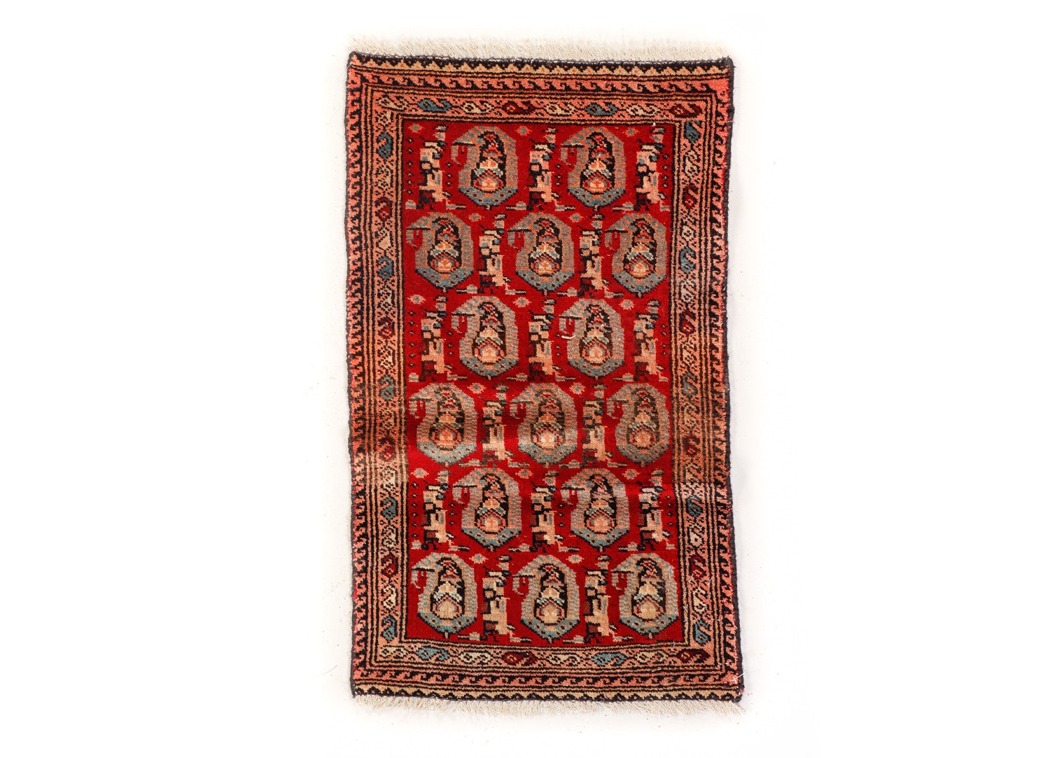 Vintage Hand-Knotted Persian Qum Wool Accent Rug