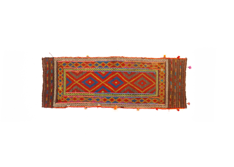 Vintage Handwoven Afghani Suzani Kilim Runner