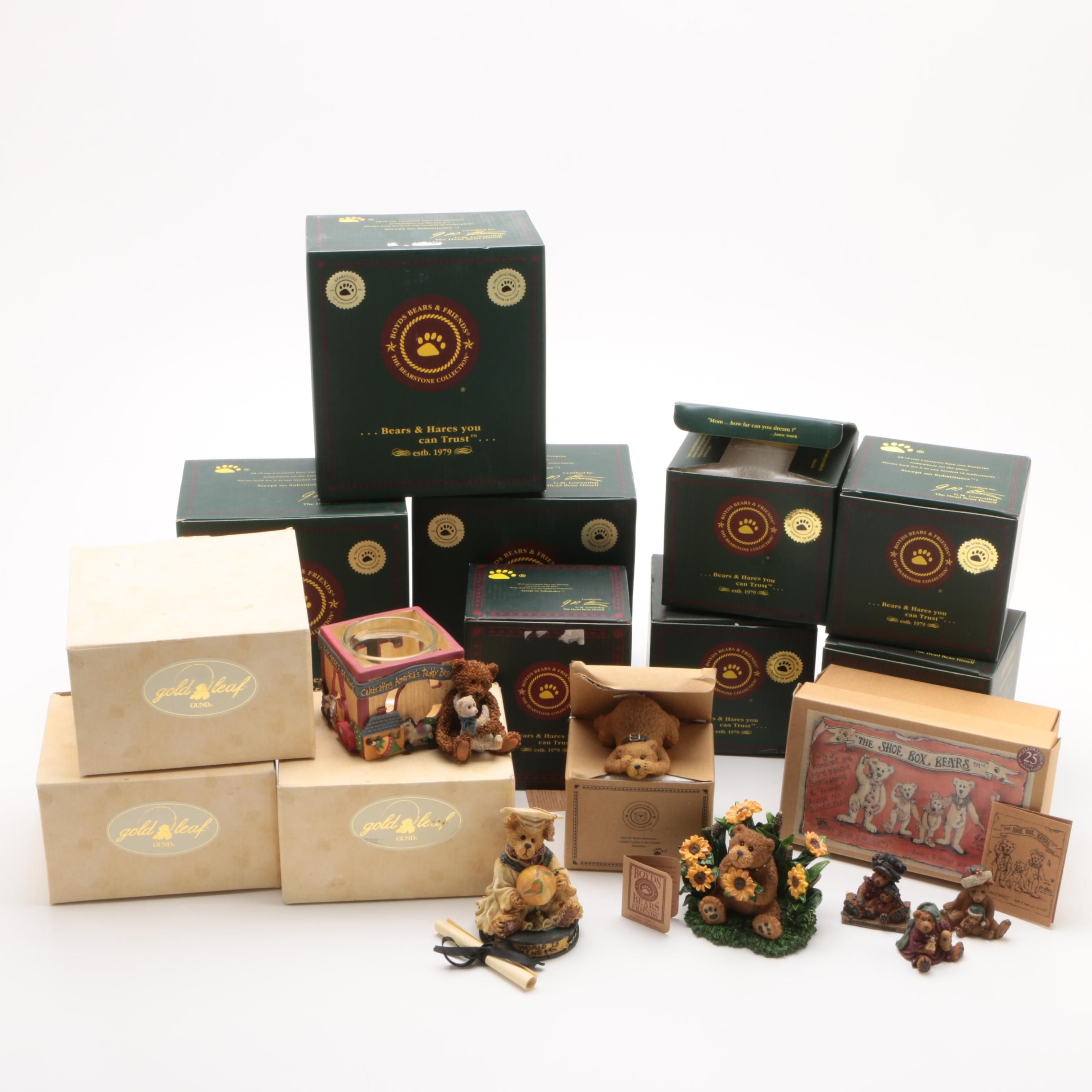 Boyds Bears & Friends and Gund Gold Leaf Resin Bear Figurine Collection