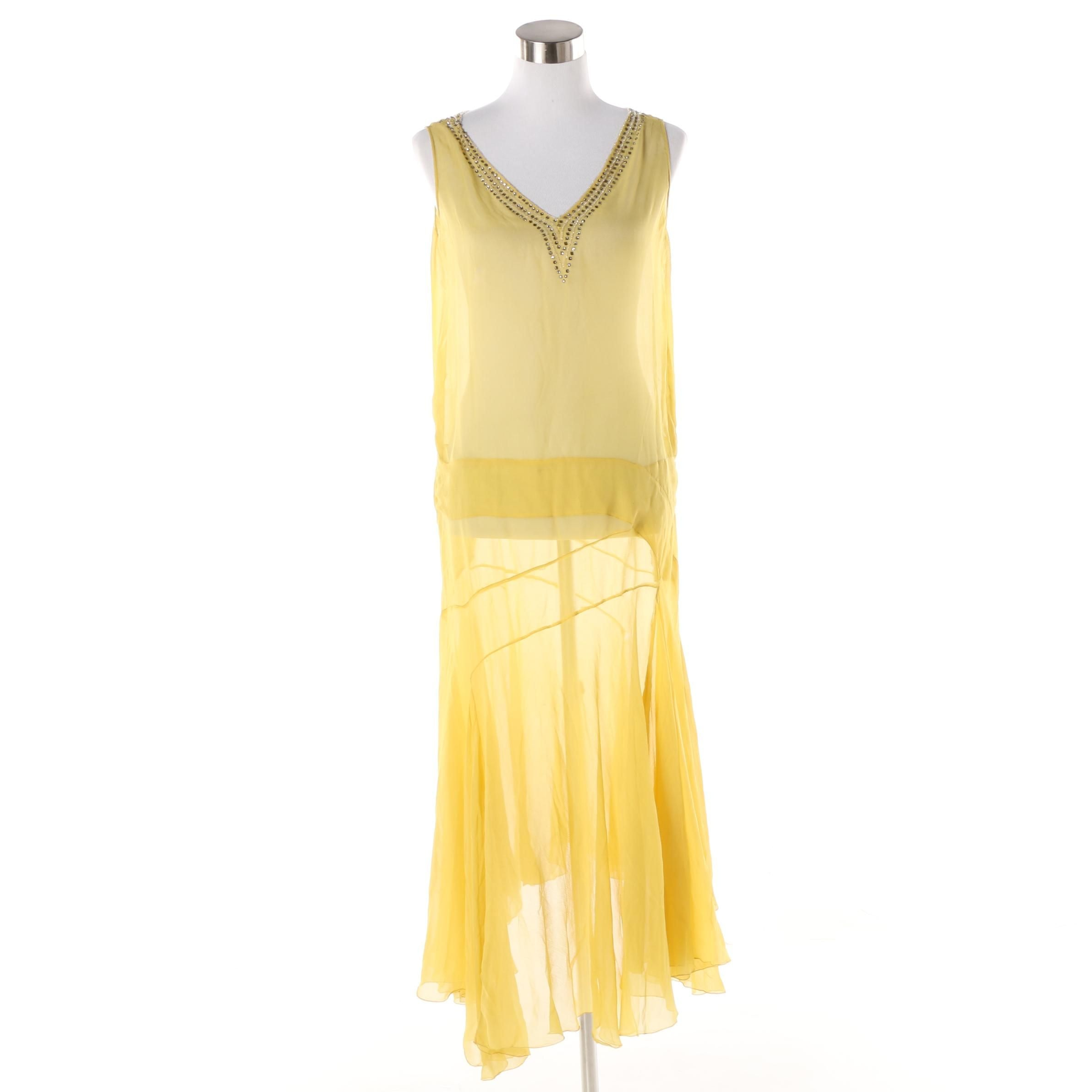 1920s Vintage Art Deco Sheer Silk Dress Accented with Beads