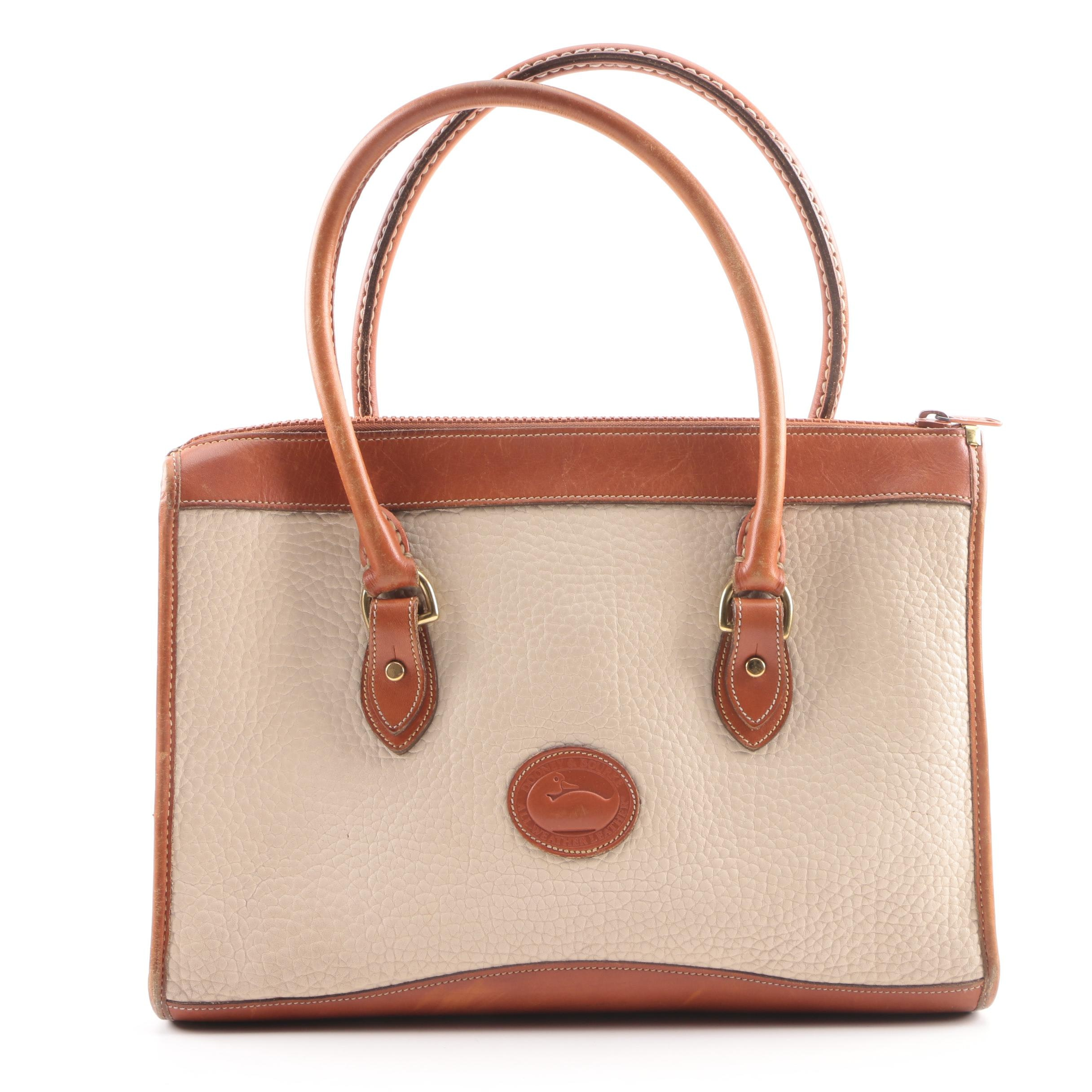 Dooney & Bourke All-Weather Leather Taupe Pebbled Leather Satchel