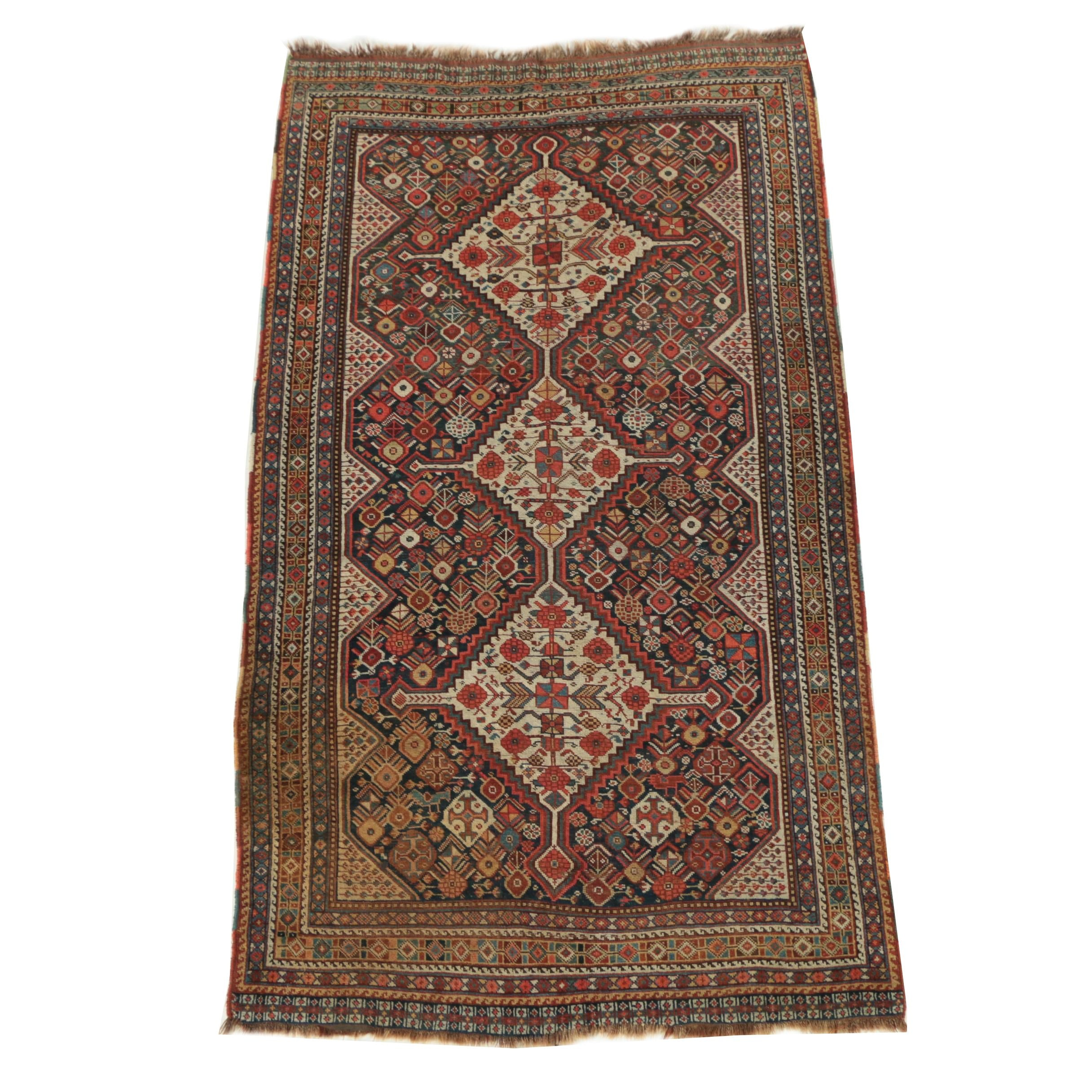 Vintage Hand-Knotted Persian Khamseh Wool Area Rug