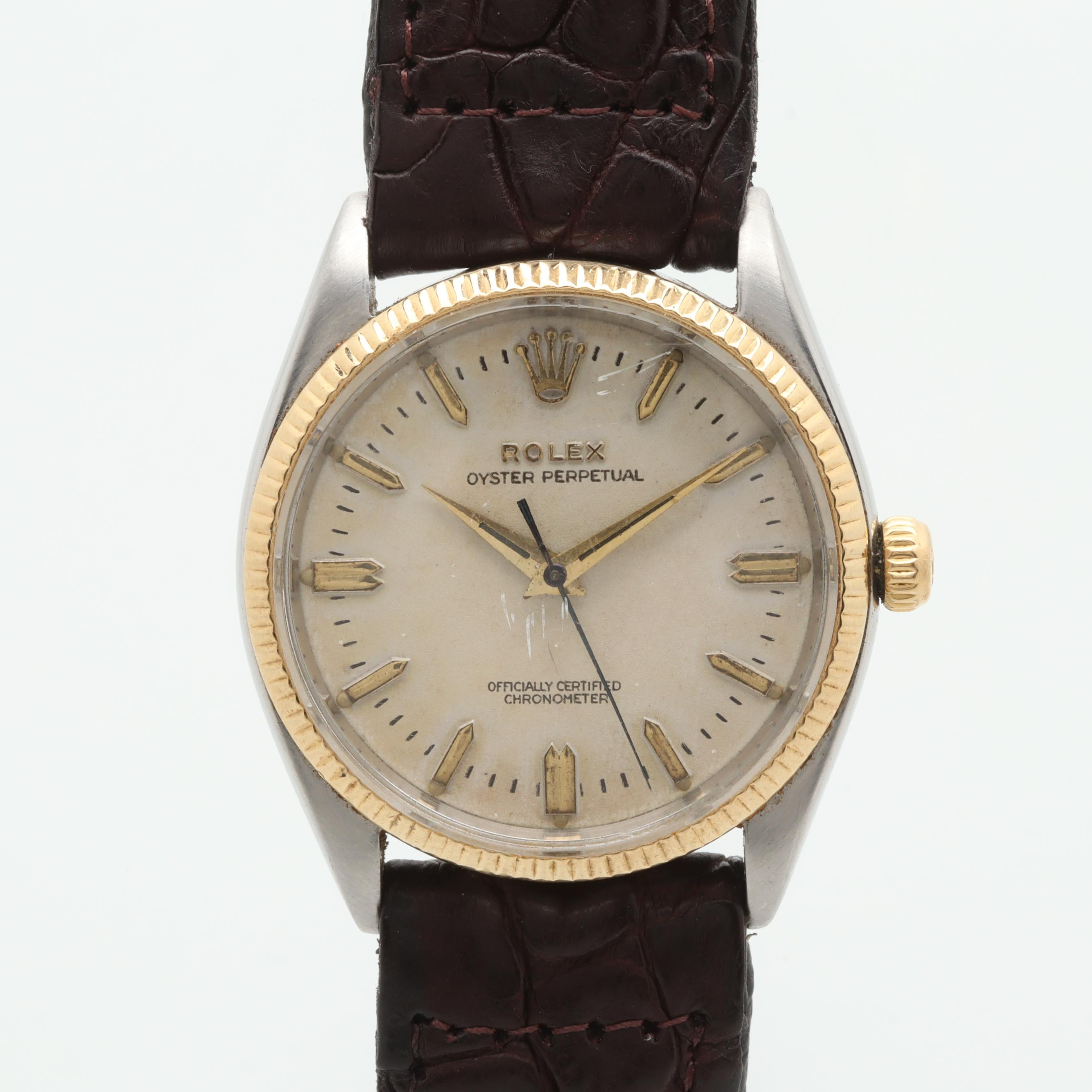 Vintage Rolex Oyster Perpetual Stainless Steel and 14K Yellow Gold Wristwatch