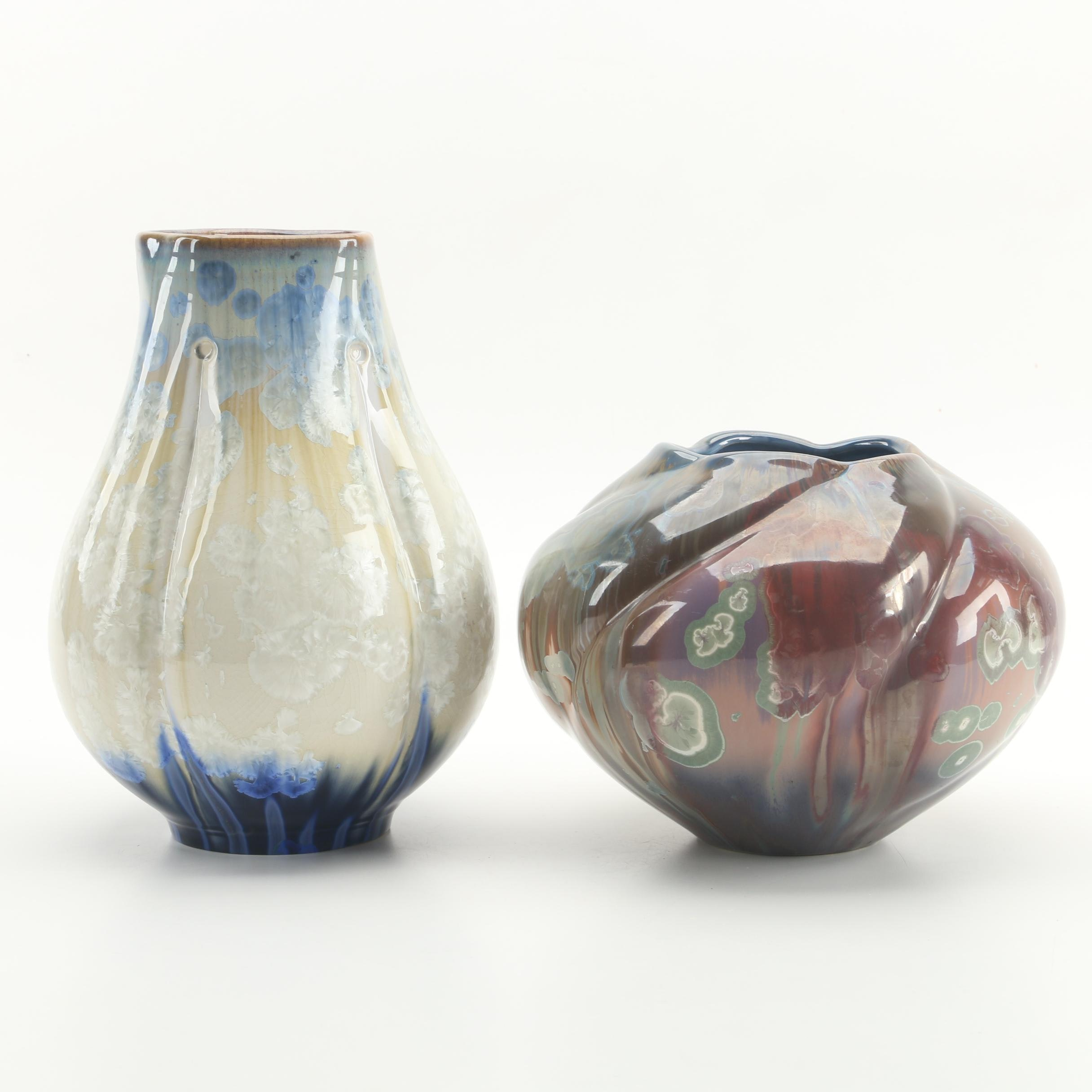Bill Campbell Porcelain Vases with Crystalline Glaze