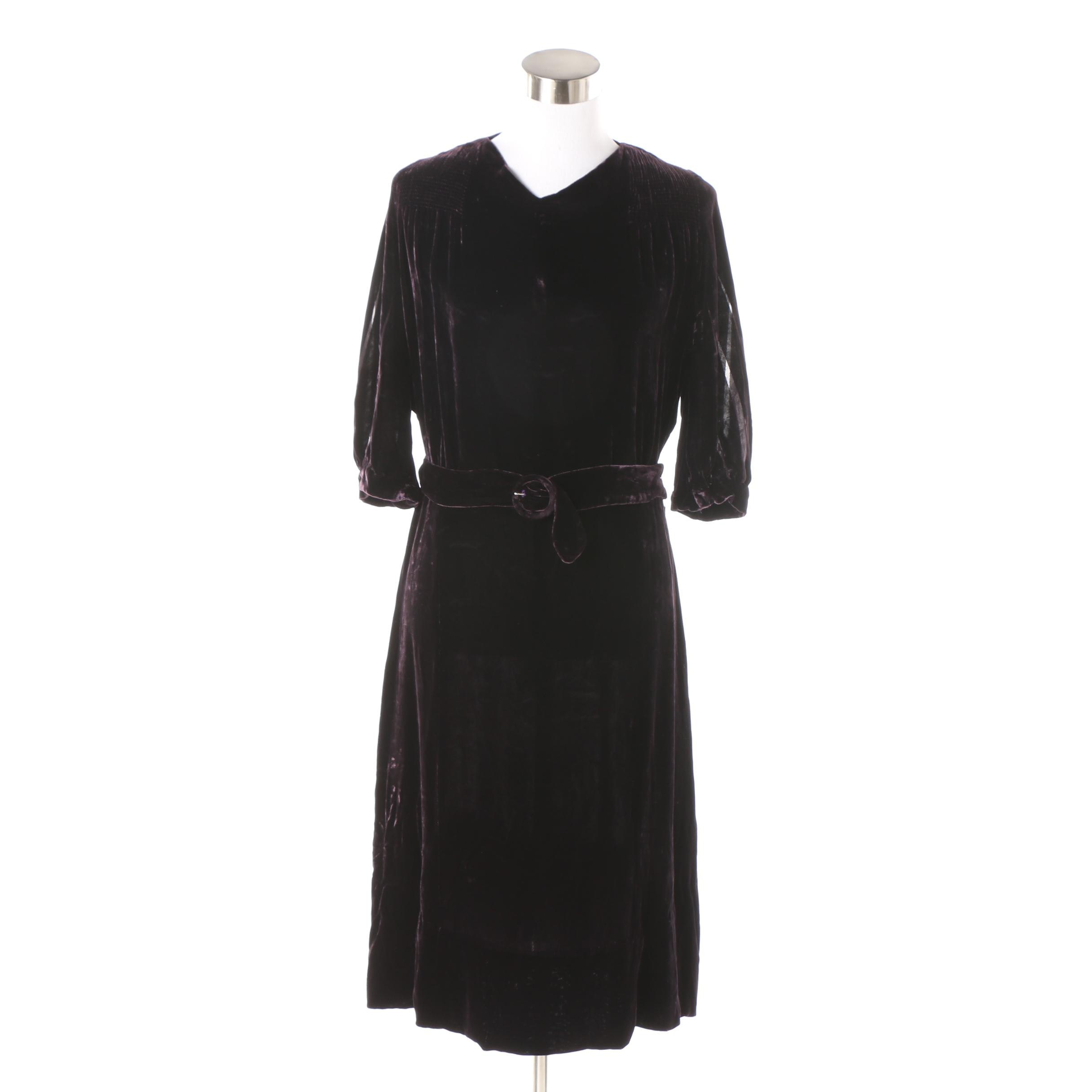 Circa 1930s Plum Velvet Dress with Belt and Sheer Striped Sleeve Detail
