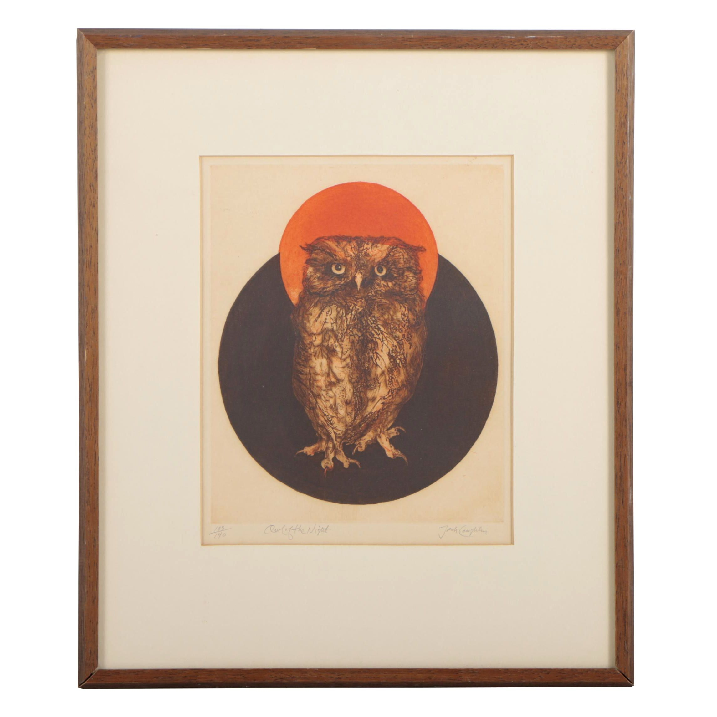 "Jack Coughlin Color Etching ""Owl of the Night"""