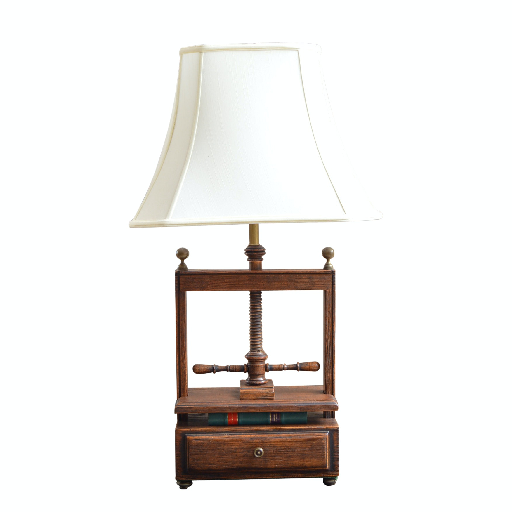 Reproduction Wooden Book Press Table Lamp