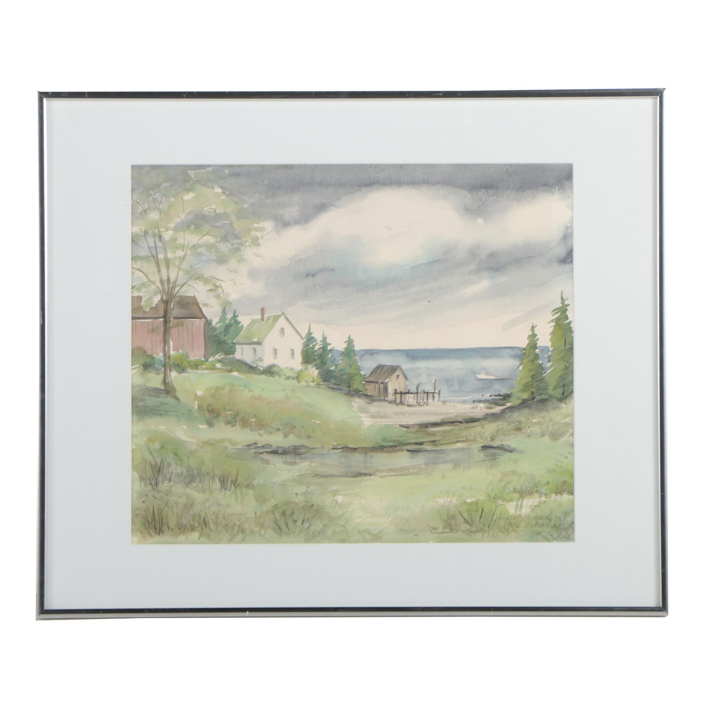 J. Waterman Landscape Watercolor Painting