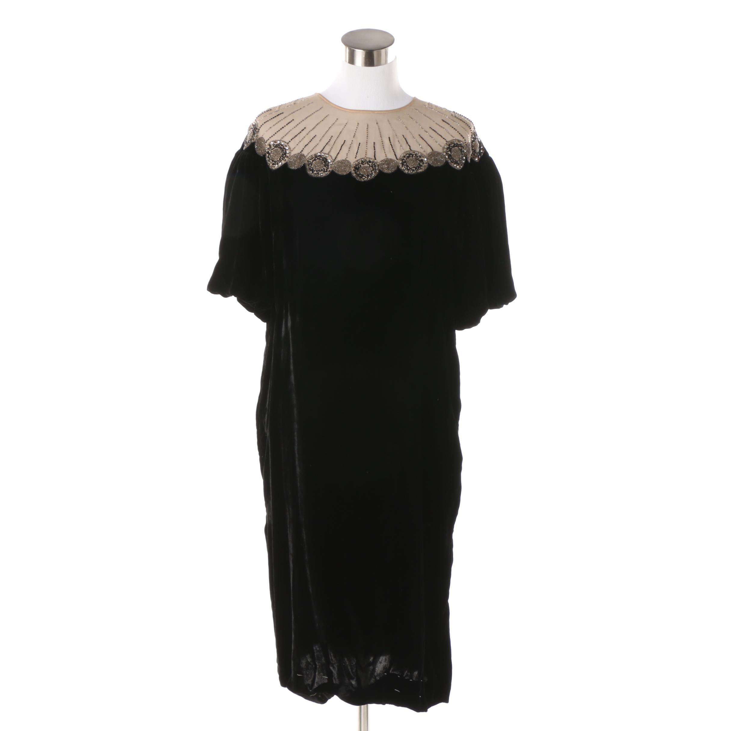 Circa 1930s Vintage Black Velvet Dress with Sheer Hand Beaded Neckline