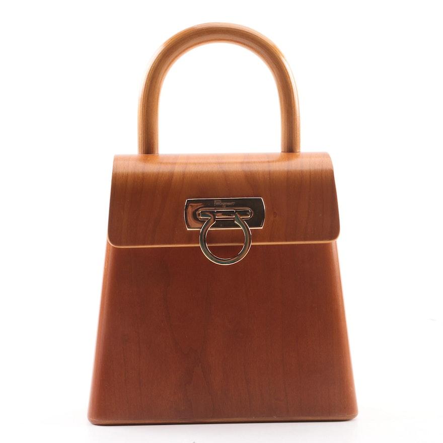 Vintage Salvatore Ferragamo Limited Edition Gancini Wooden Top Handle Bag  ... ed924b27cb7d5
