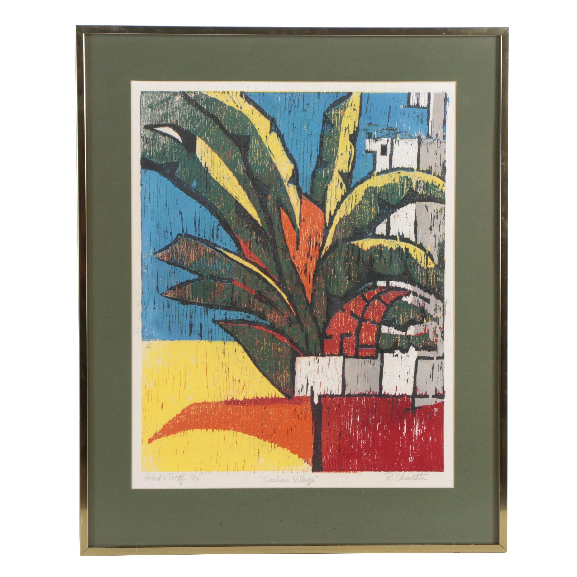 "Rosemary Chiavetta Woodcut Print ""Sicilian Village"""