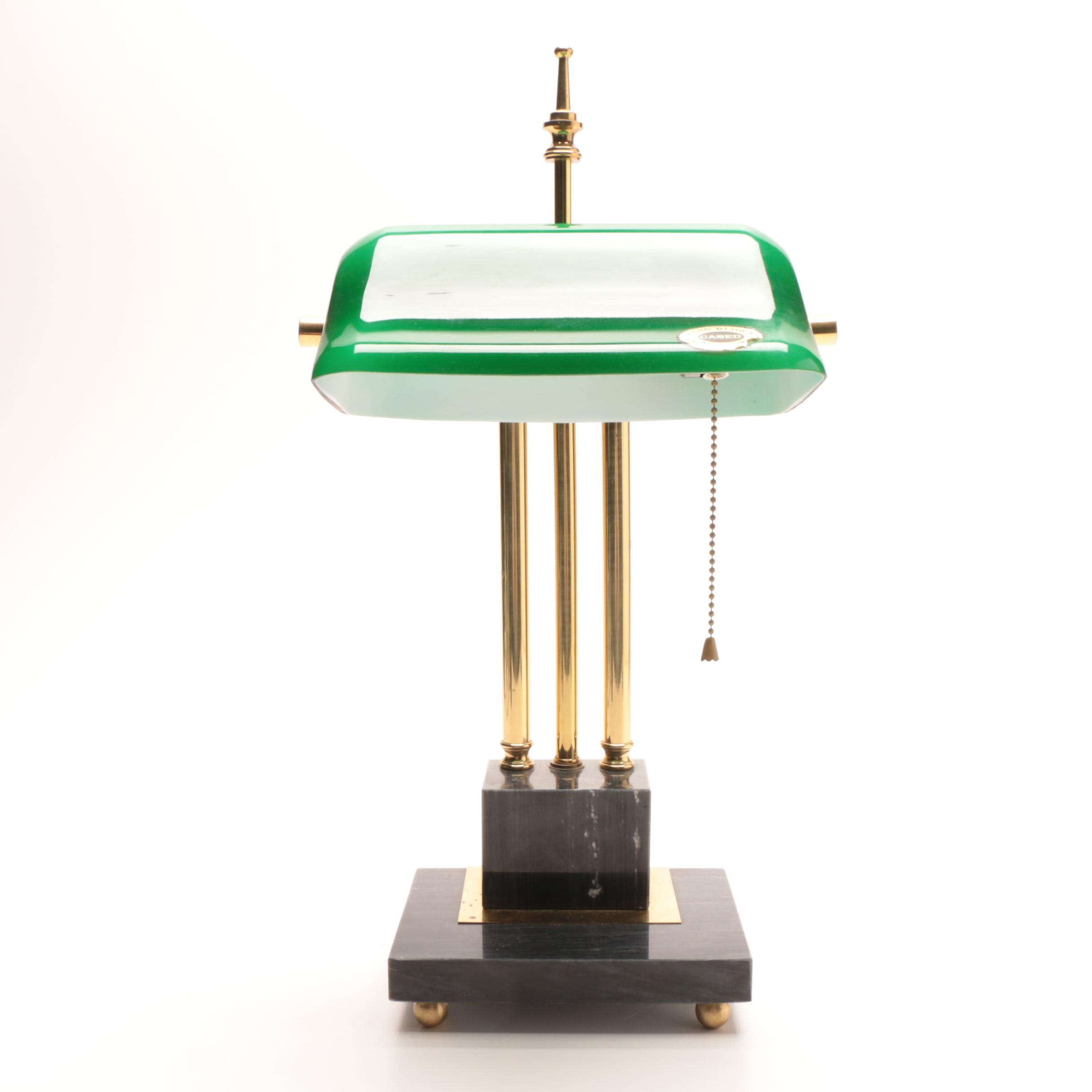 Brass and Marble Bankers Lamp