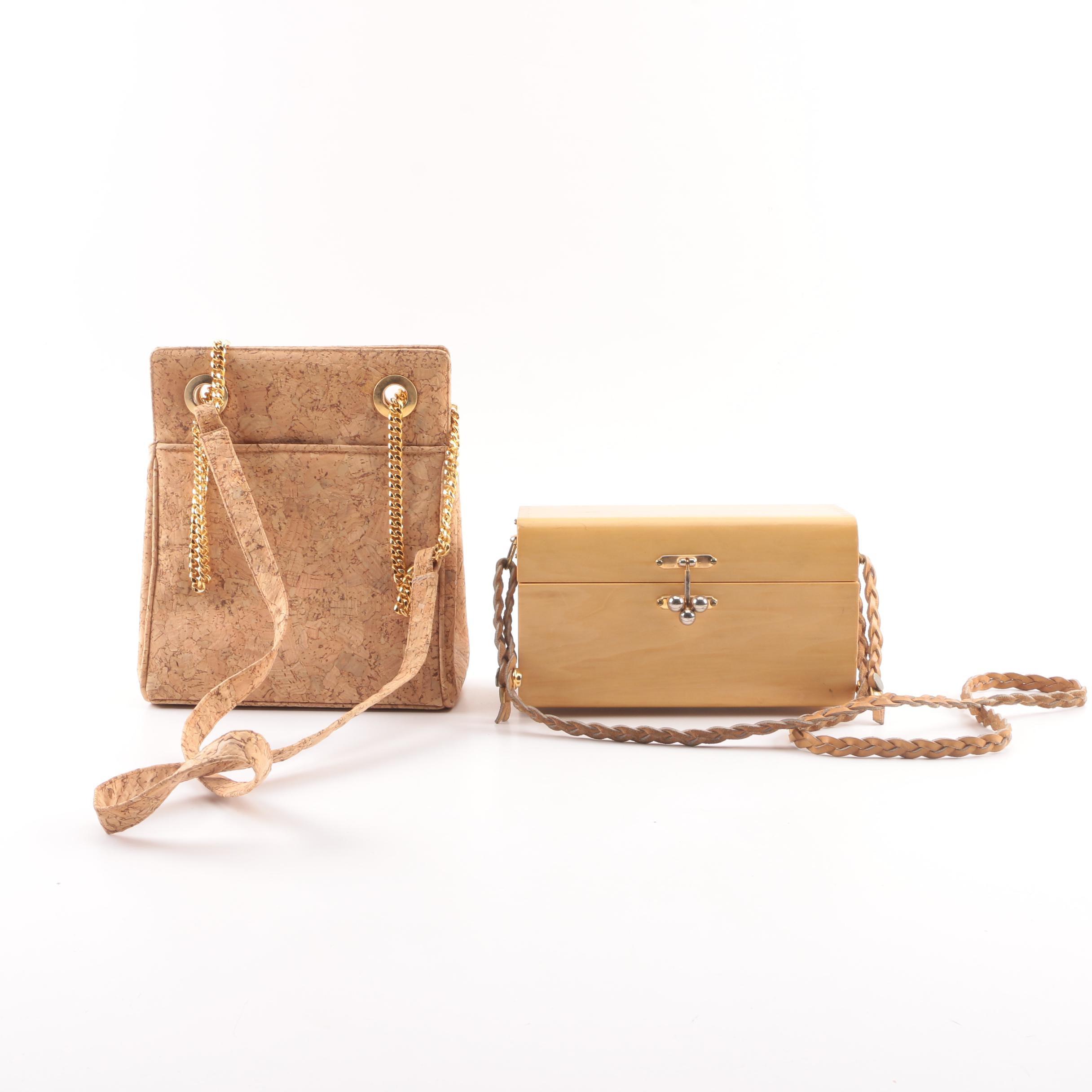 Frenchy of California Cork Shoulder Bag and Chapel Handbox Maple Box Bag