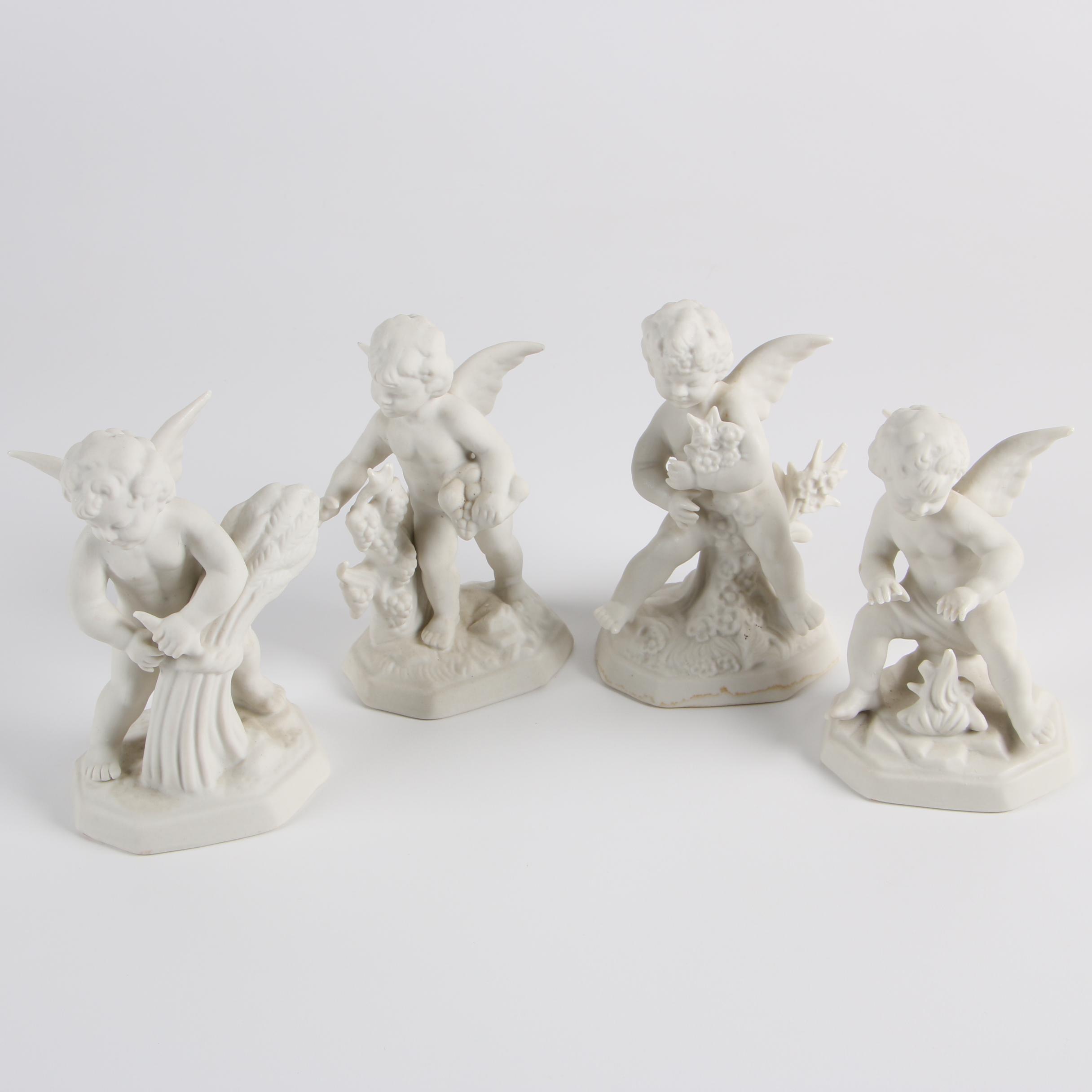 "Vintage Martha Budich ""Four Seasons"" German Bisque Cherub Figurines"