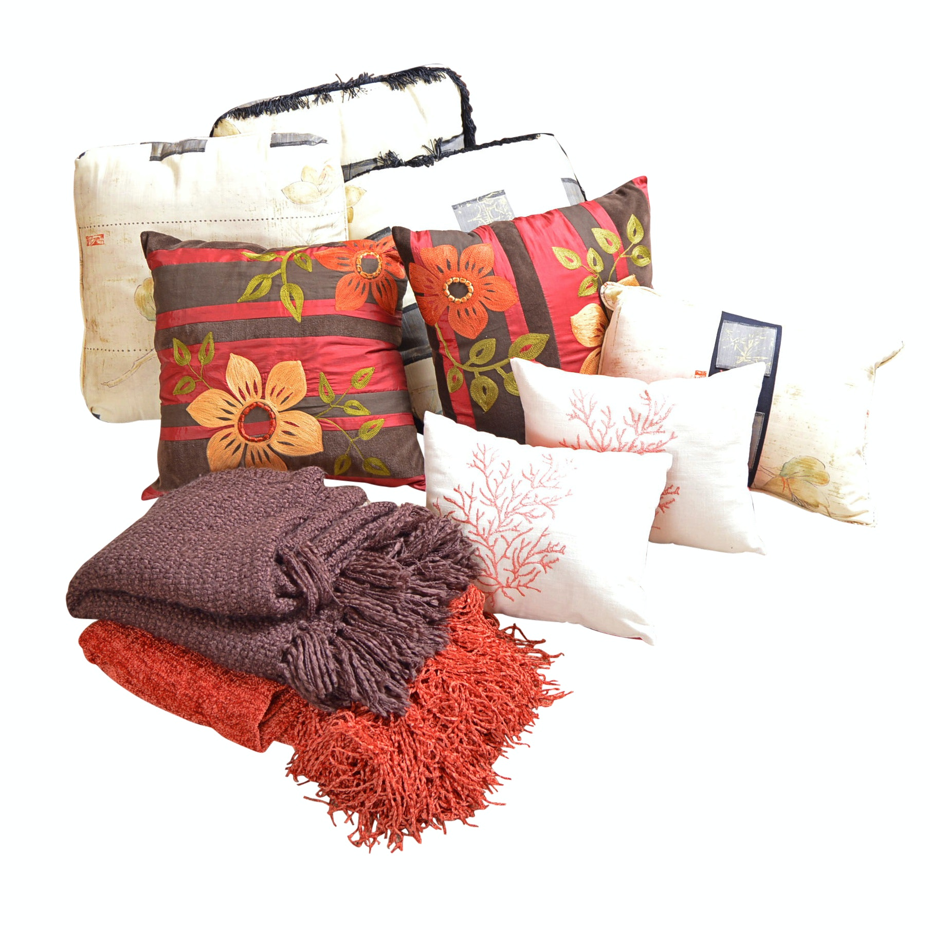 Pier I Pillow Collection with Fringed Throws