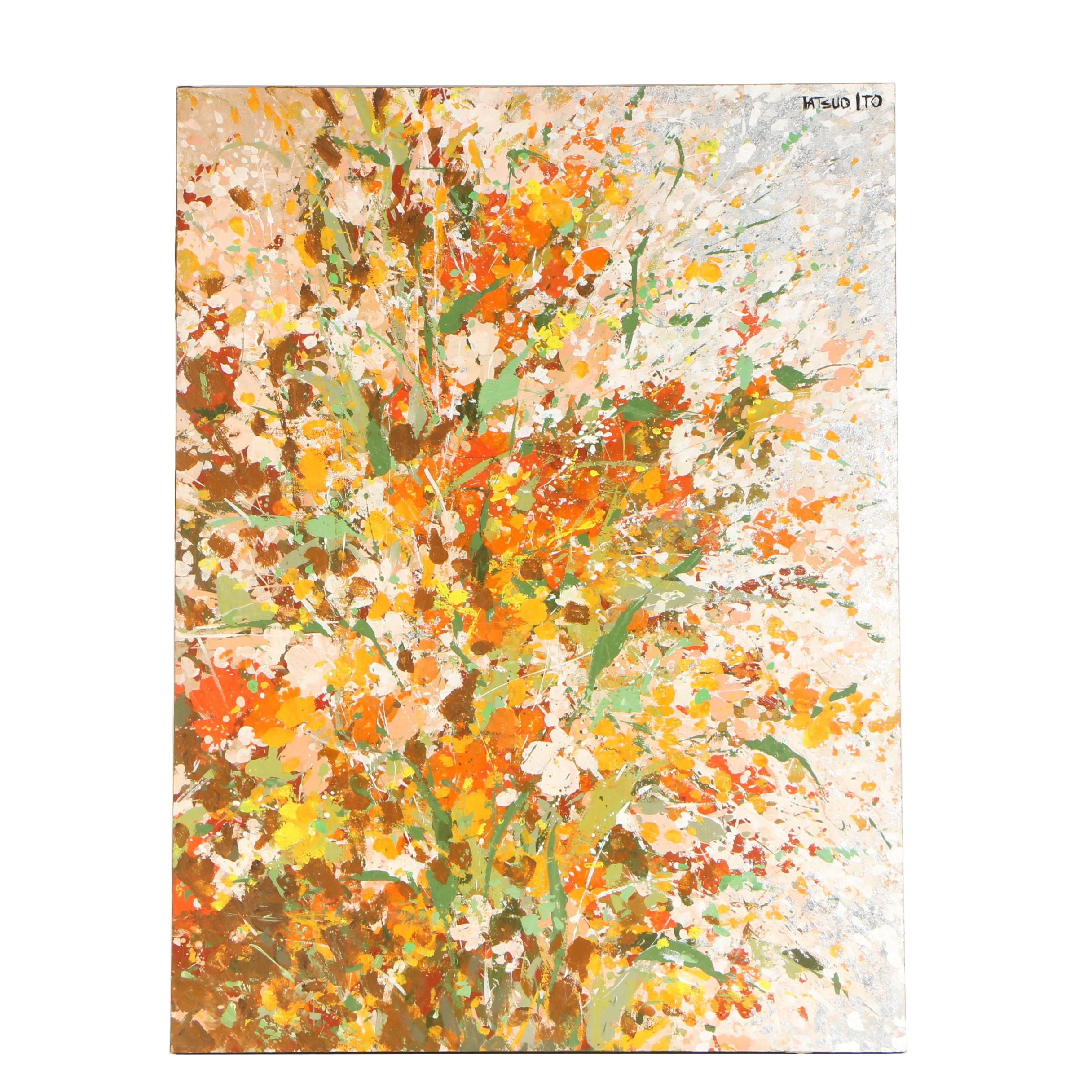 Tatsuo Ito Floral Abstract Oil Painting on Wood Panel