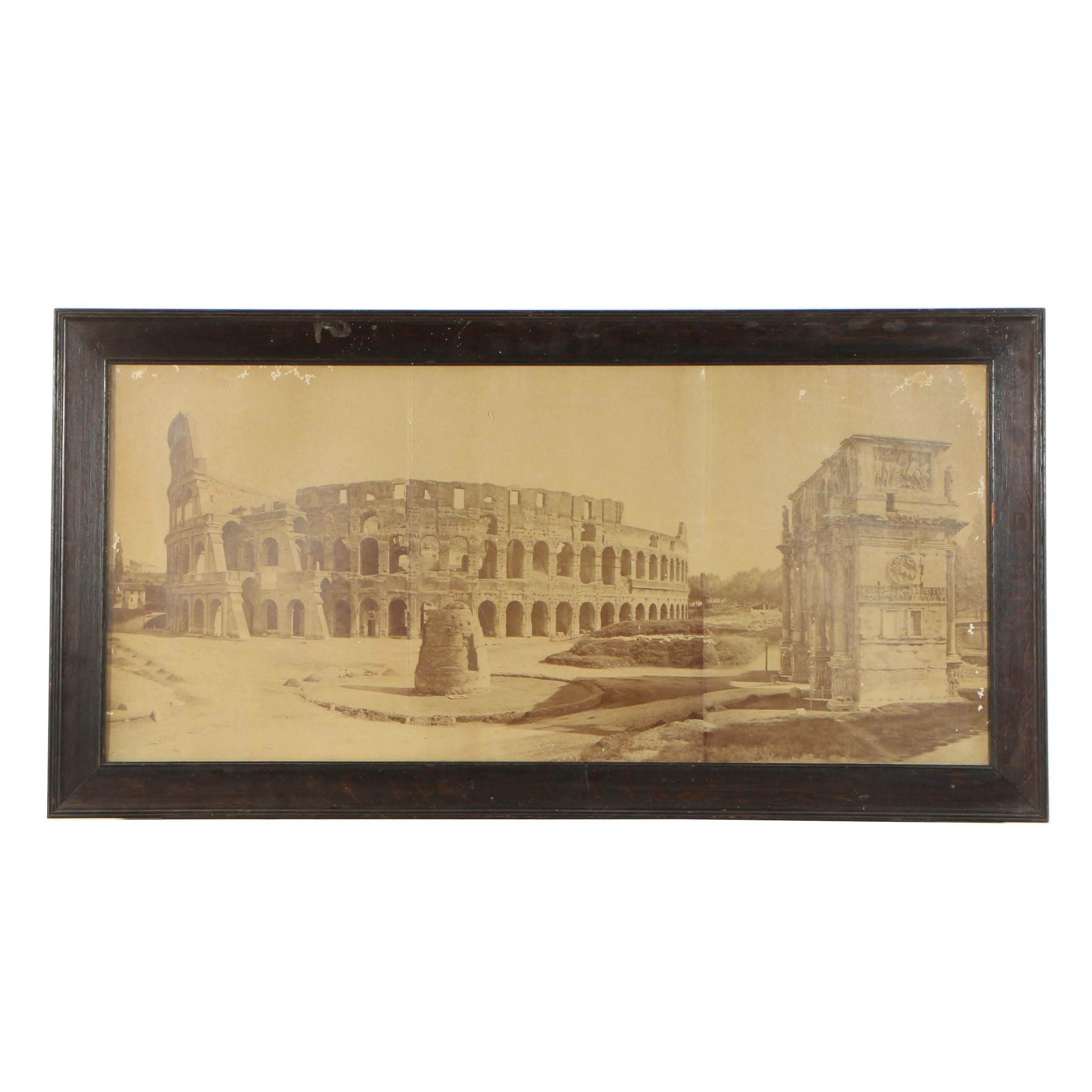 Colosseum of Rome and The Arch of Constantine Silver Gelatin Photograph
