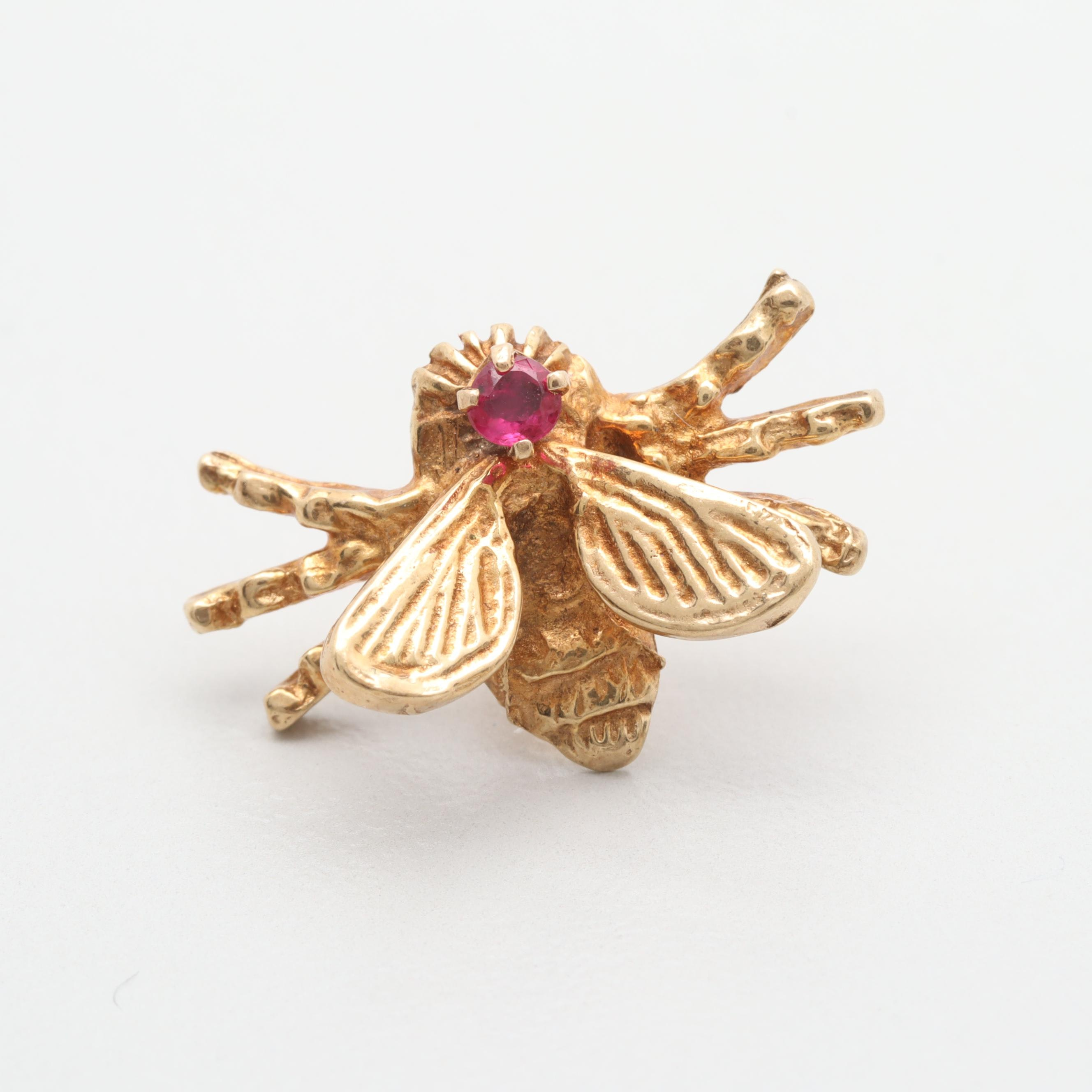 14K Yellow Gold Ruby Bee Pin