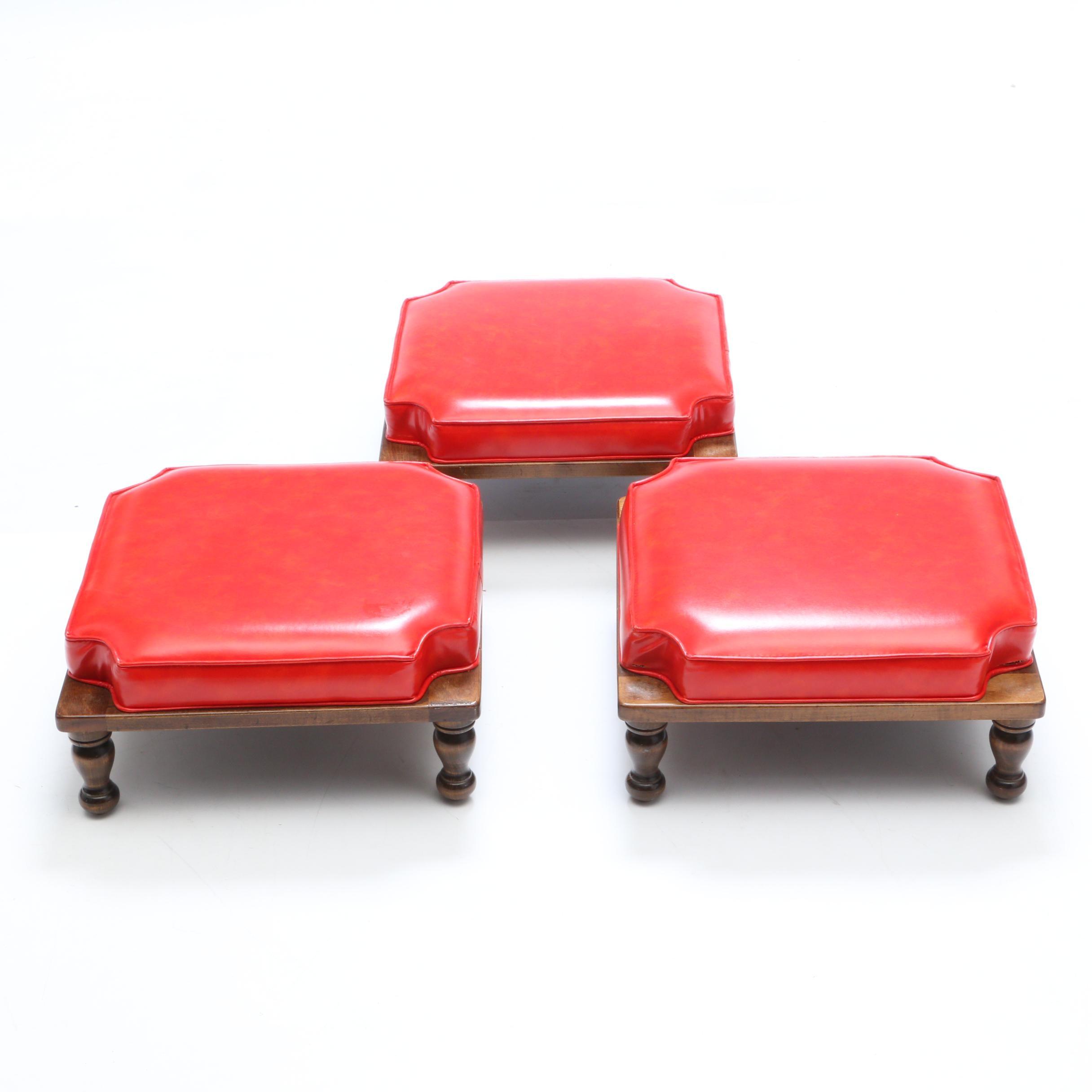 Vintage Ethan Allen Upholstered Stacking Footstools