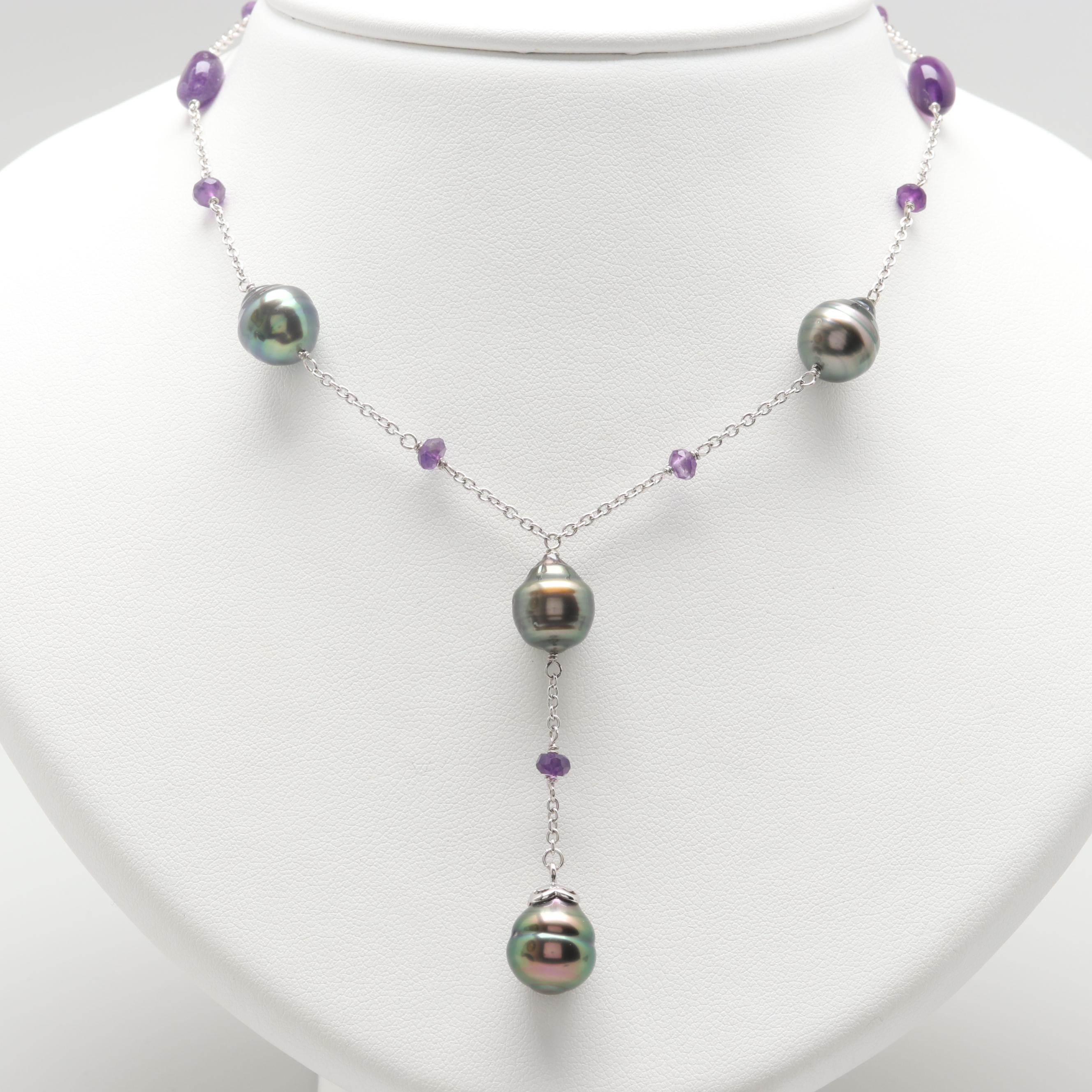 Silver Tone and Sterling Silver Cultured Pearl and Amethyst Necklace