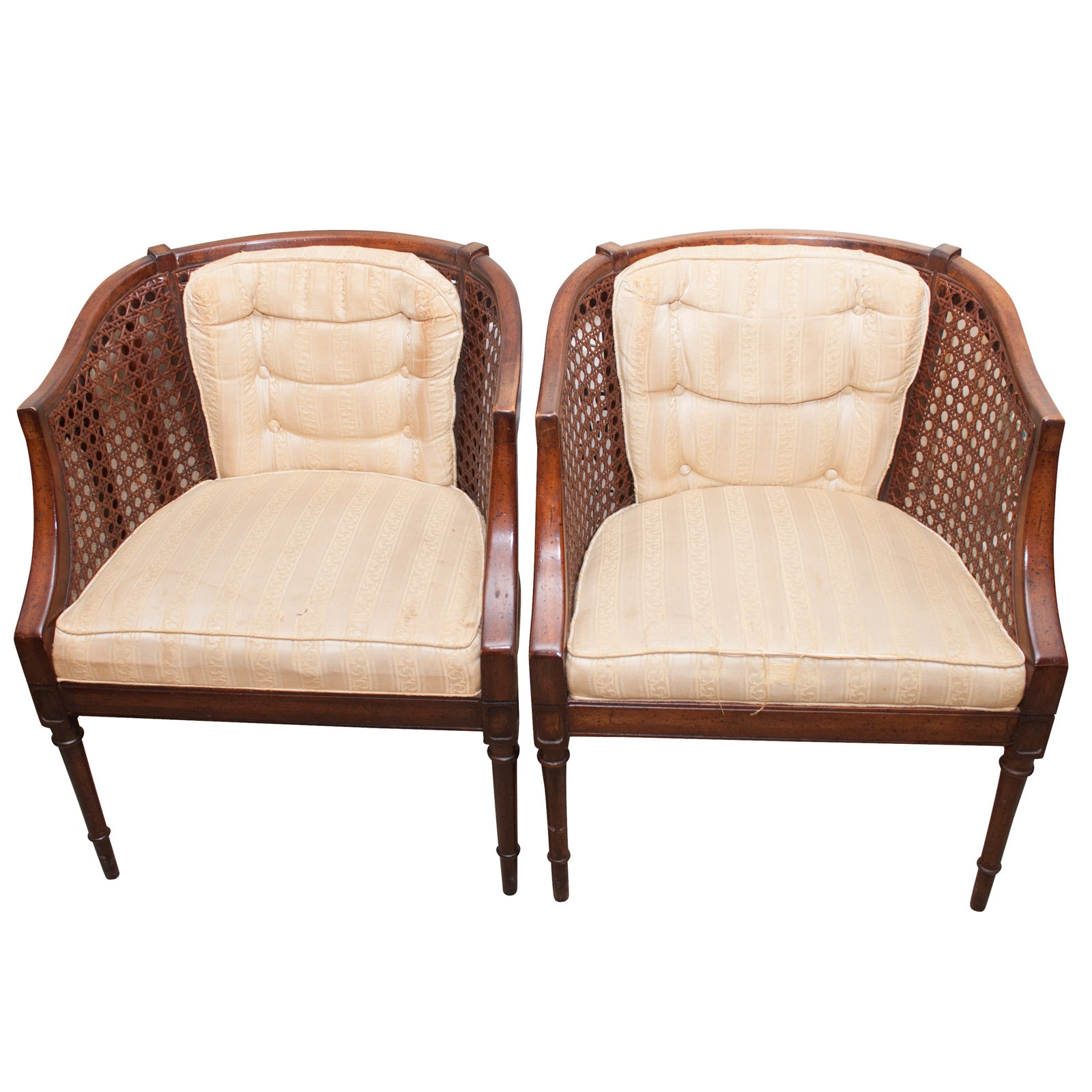 Pair of Louis XV Style Spline Woven Cane Barrel Back Chairs, Mid-20th Century