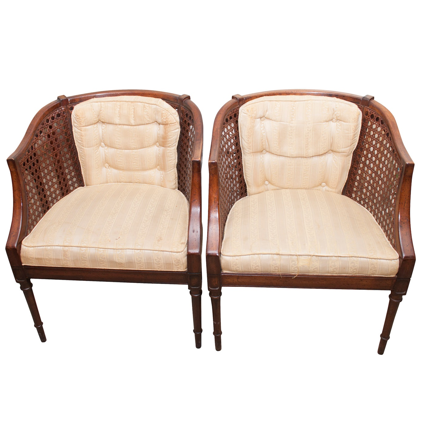 Pair Of Louis XV Style Spline Woven Cane Barrel Back