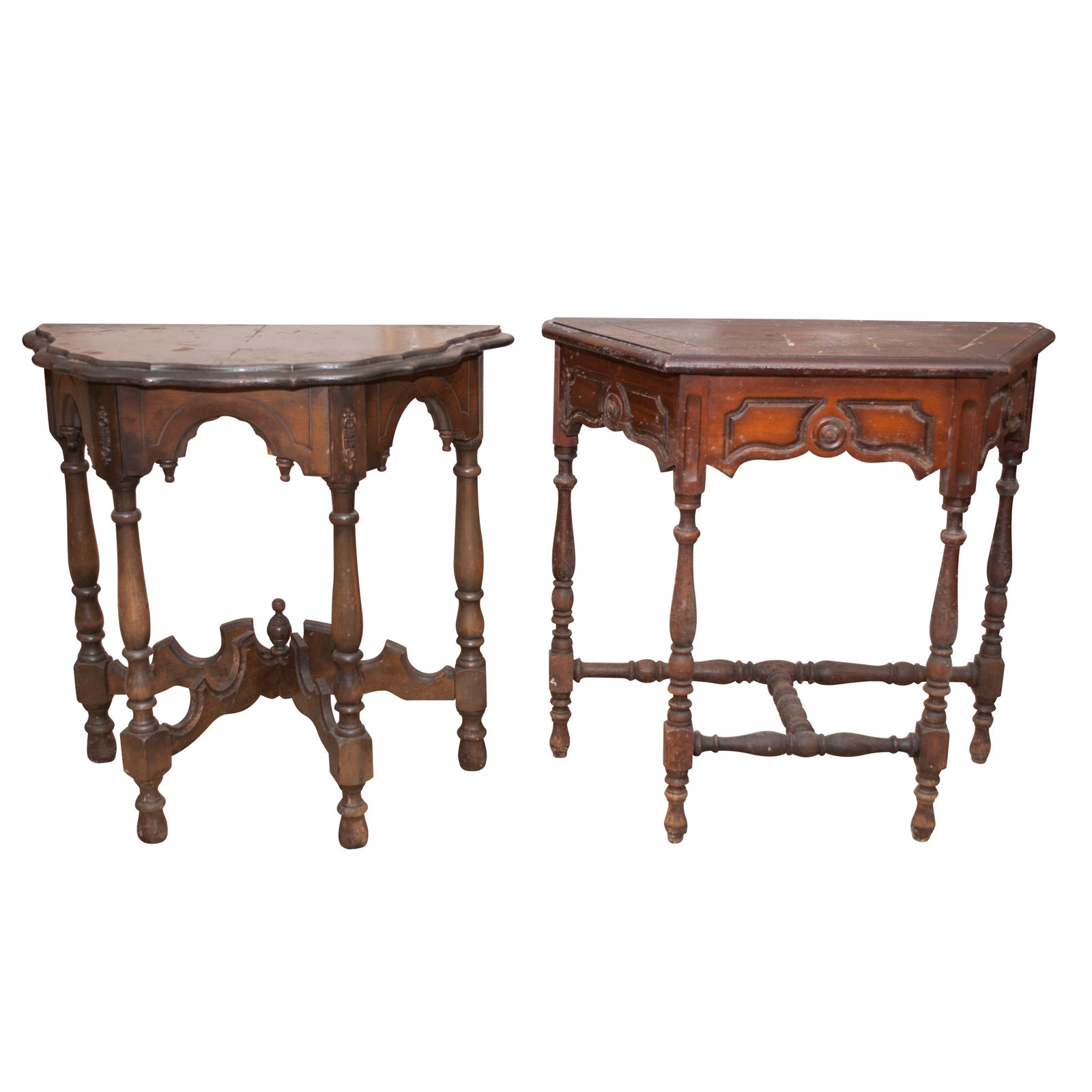 Two Rococo Revival Style Walnut Half Tables, Early 20th Century