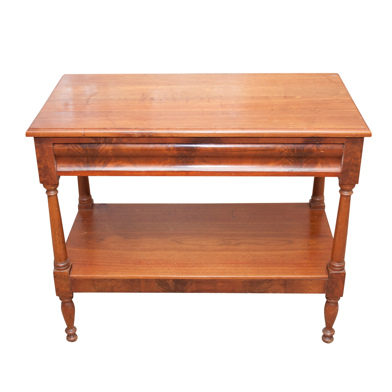 Mahogany Entry Table with Flame Veneer, Early to Mid 19th Century
