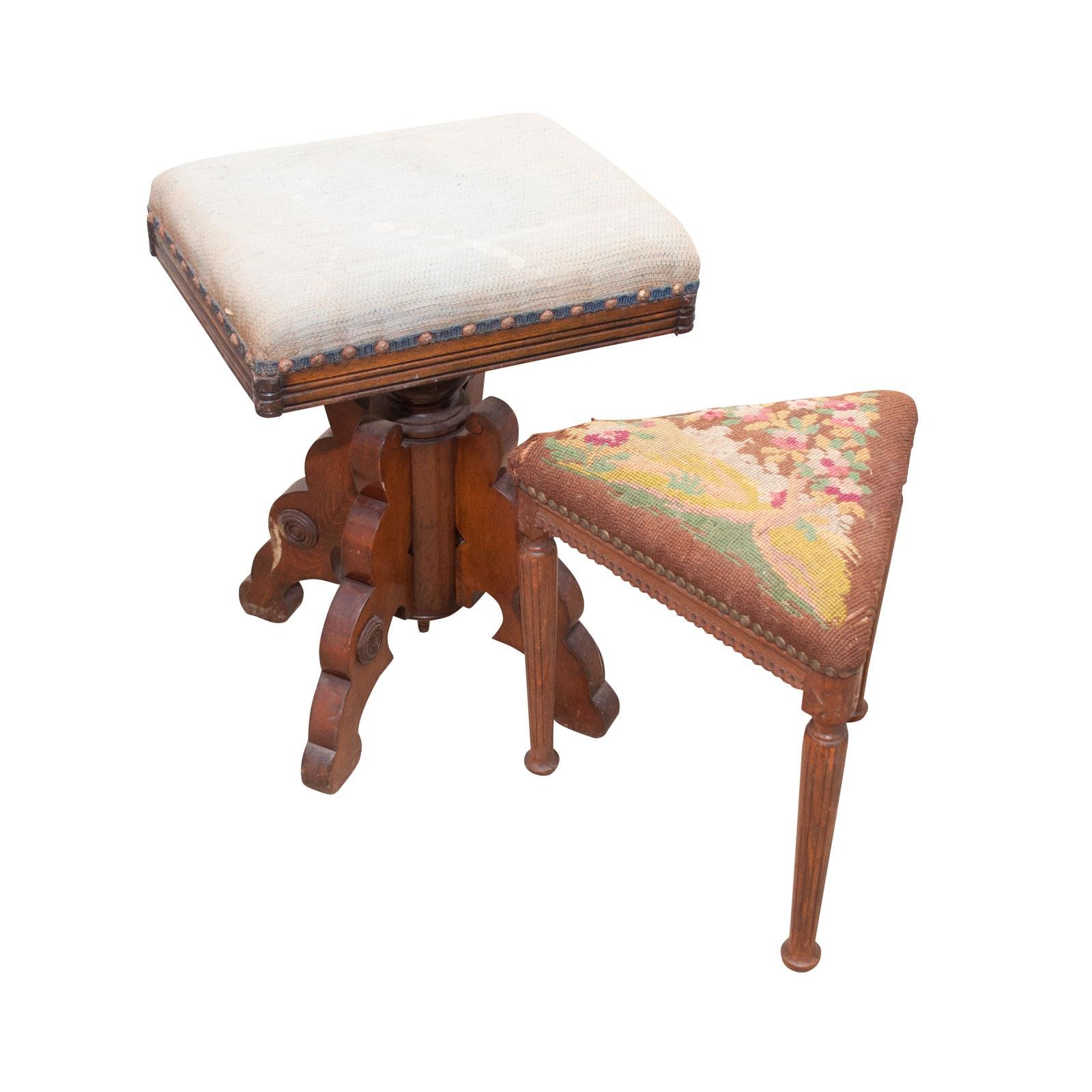 Victorian Walnut Stool and Federal Style Mahogany Footstool