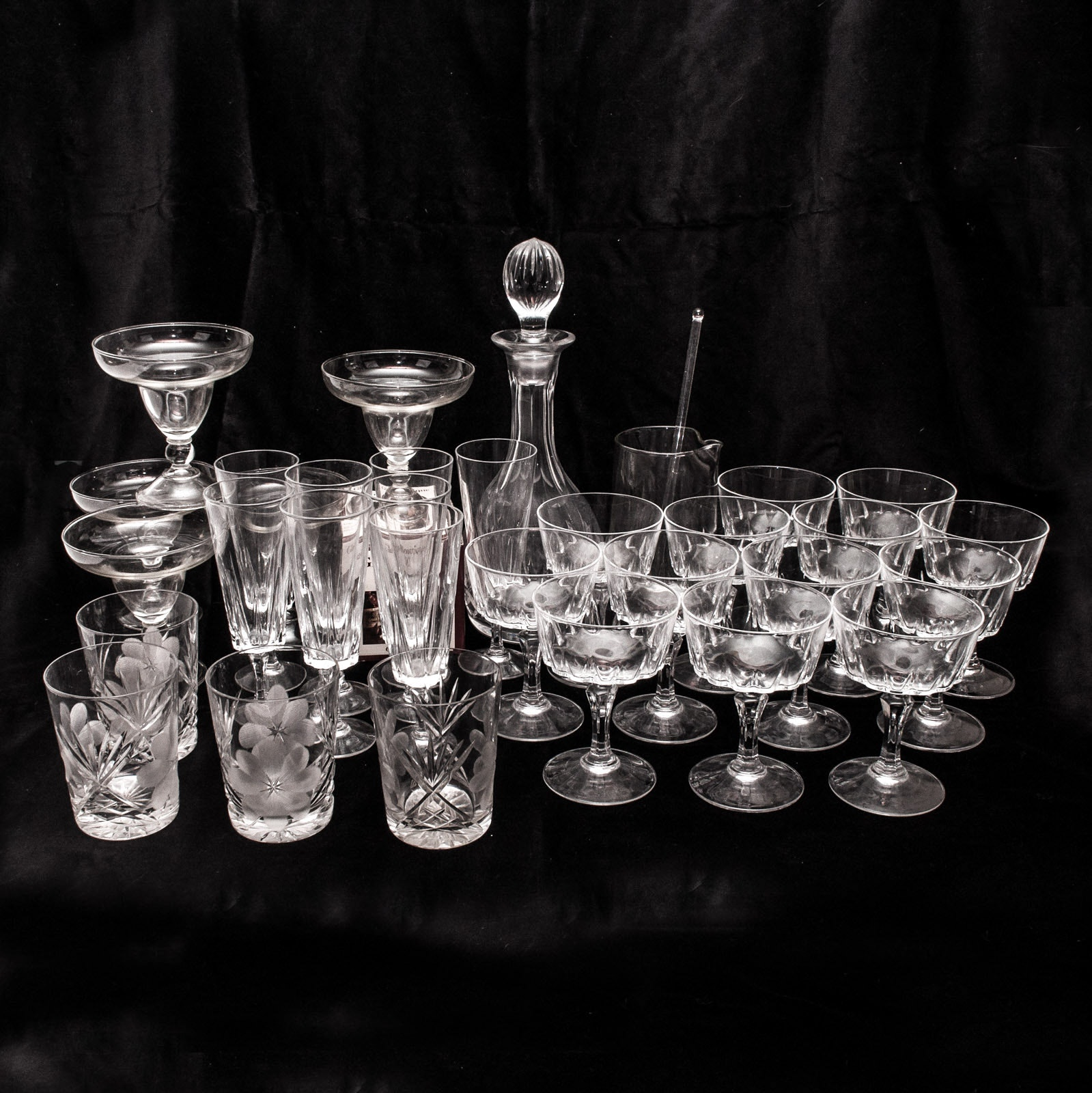 Vintage Crystal and Glass Stemware and Barware
