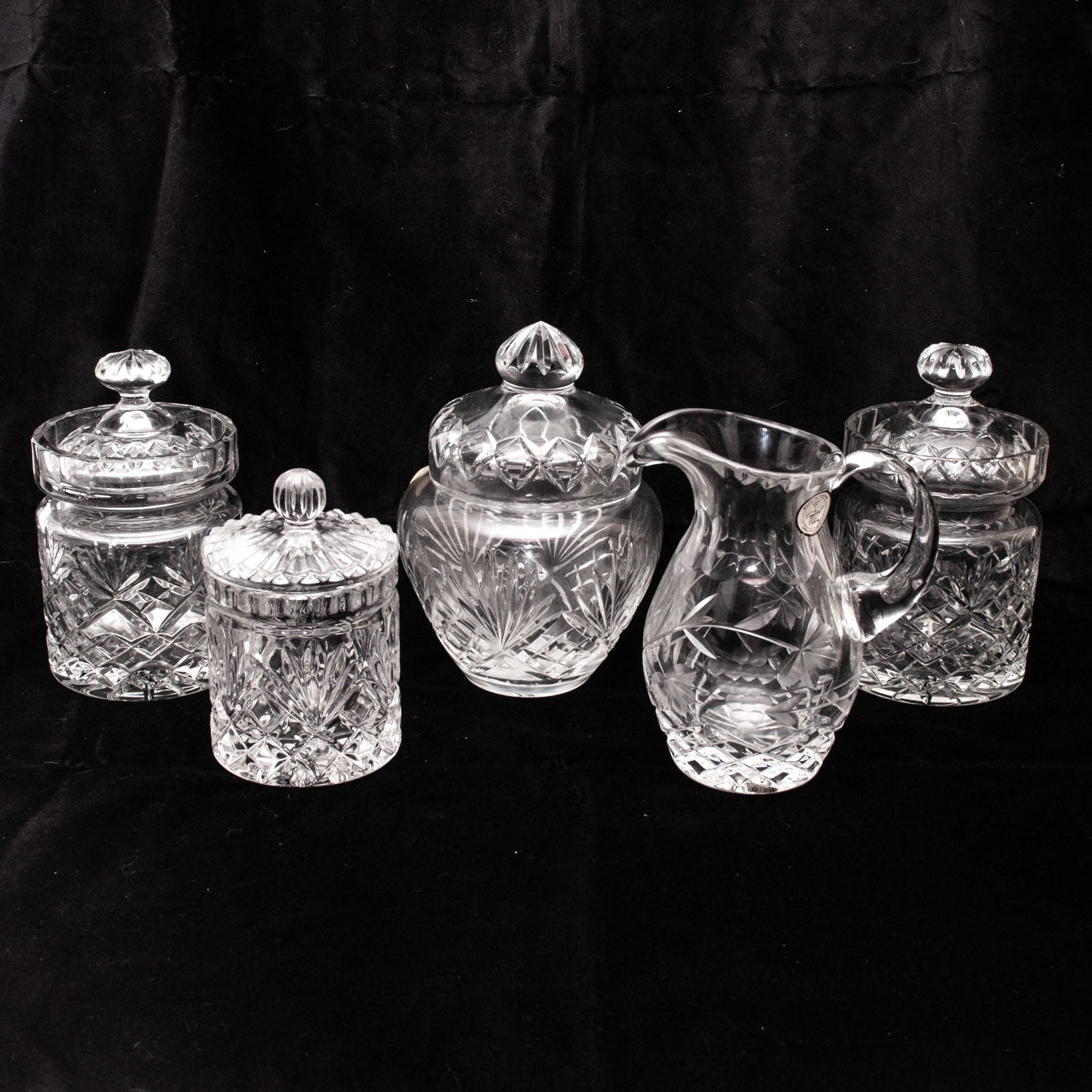 Crystal Covered Jars and Pitcher including Polish Crystal Clear