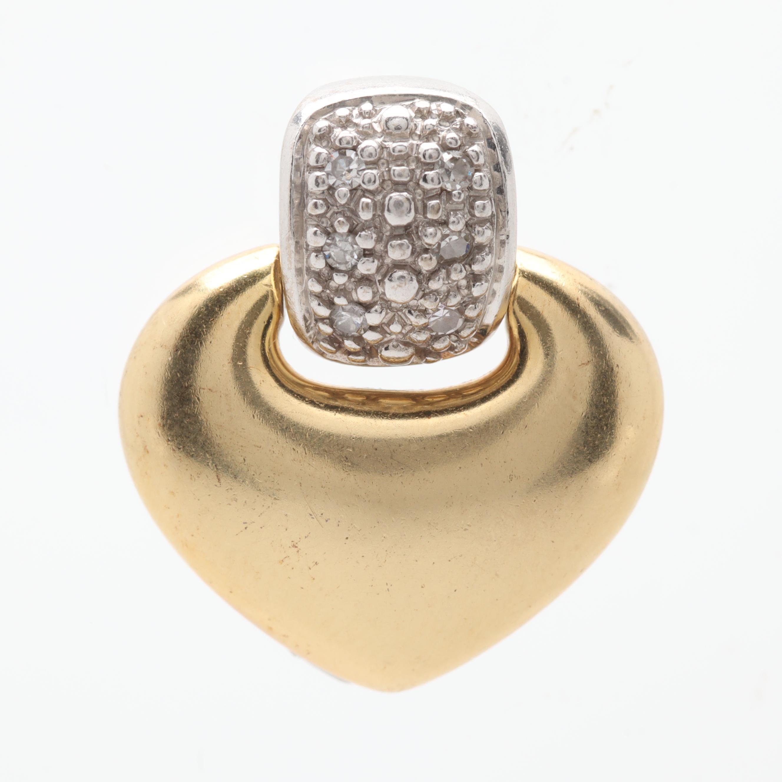 18K Yellow and White Gold Diamond Enhancer Pendant