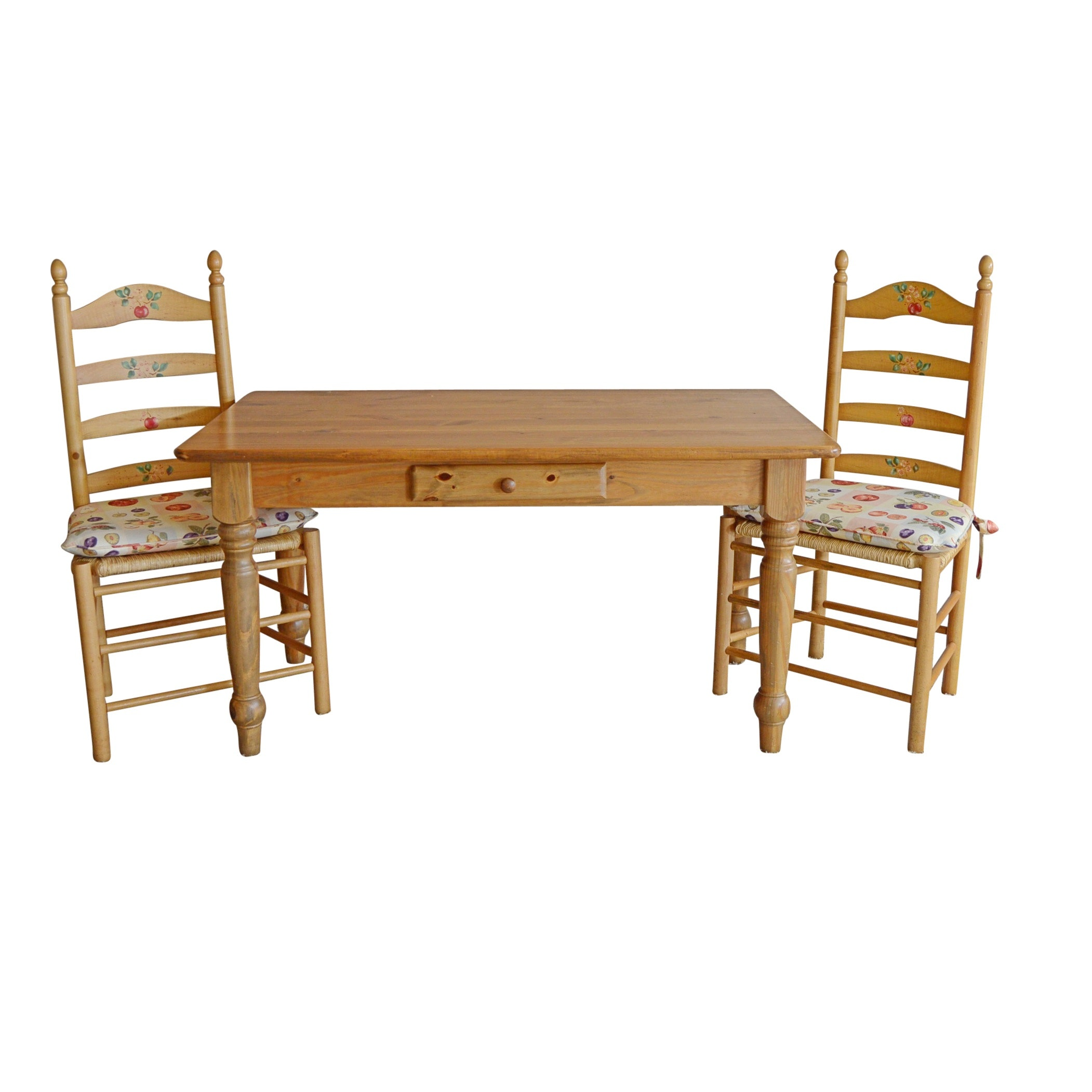 Reproduction Shaker Style Pine Dining Table with Ladderback Chairs