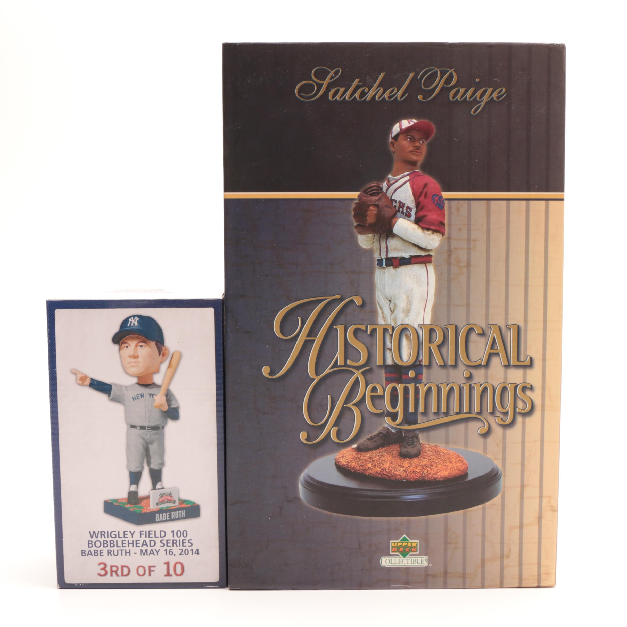 Satchel Paige Upper Deck Statue and Babe Ruth Bobblehead Doll From Wrigley Field
