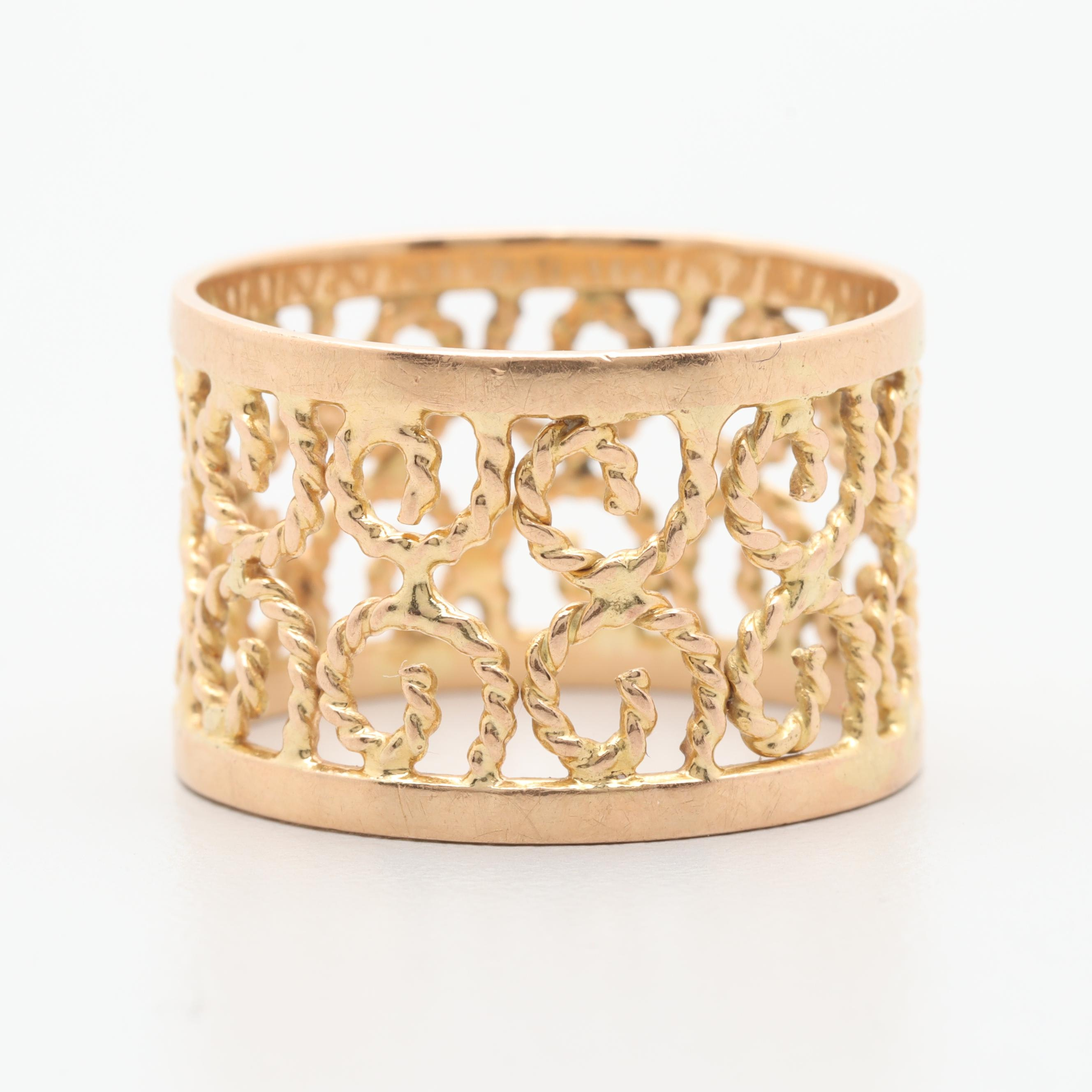 18K Yellow Gold Scrolled Openwork Ring