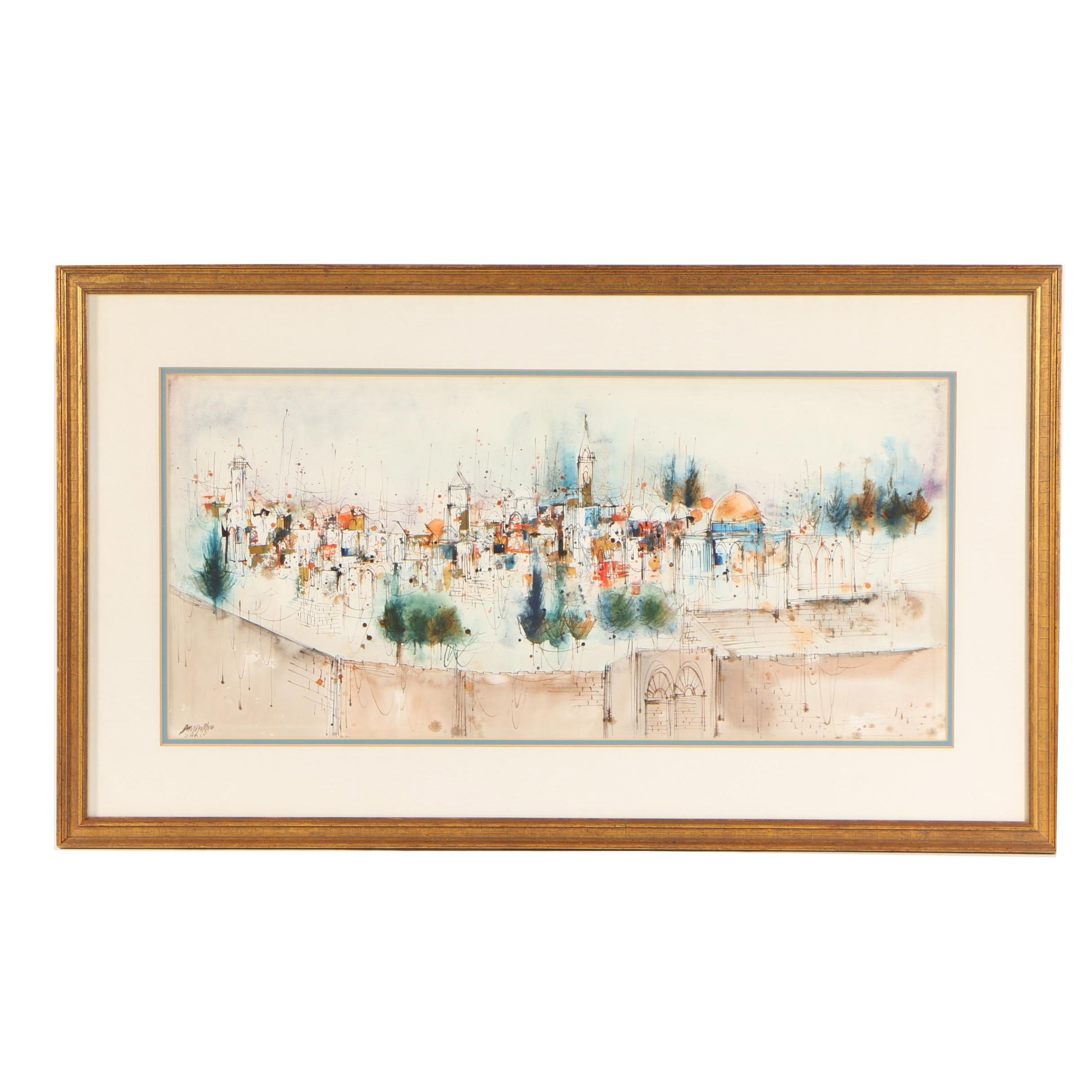 "Edward Ben Avram Watercolor Painting ""View of Jerusalem"""