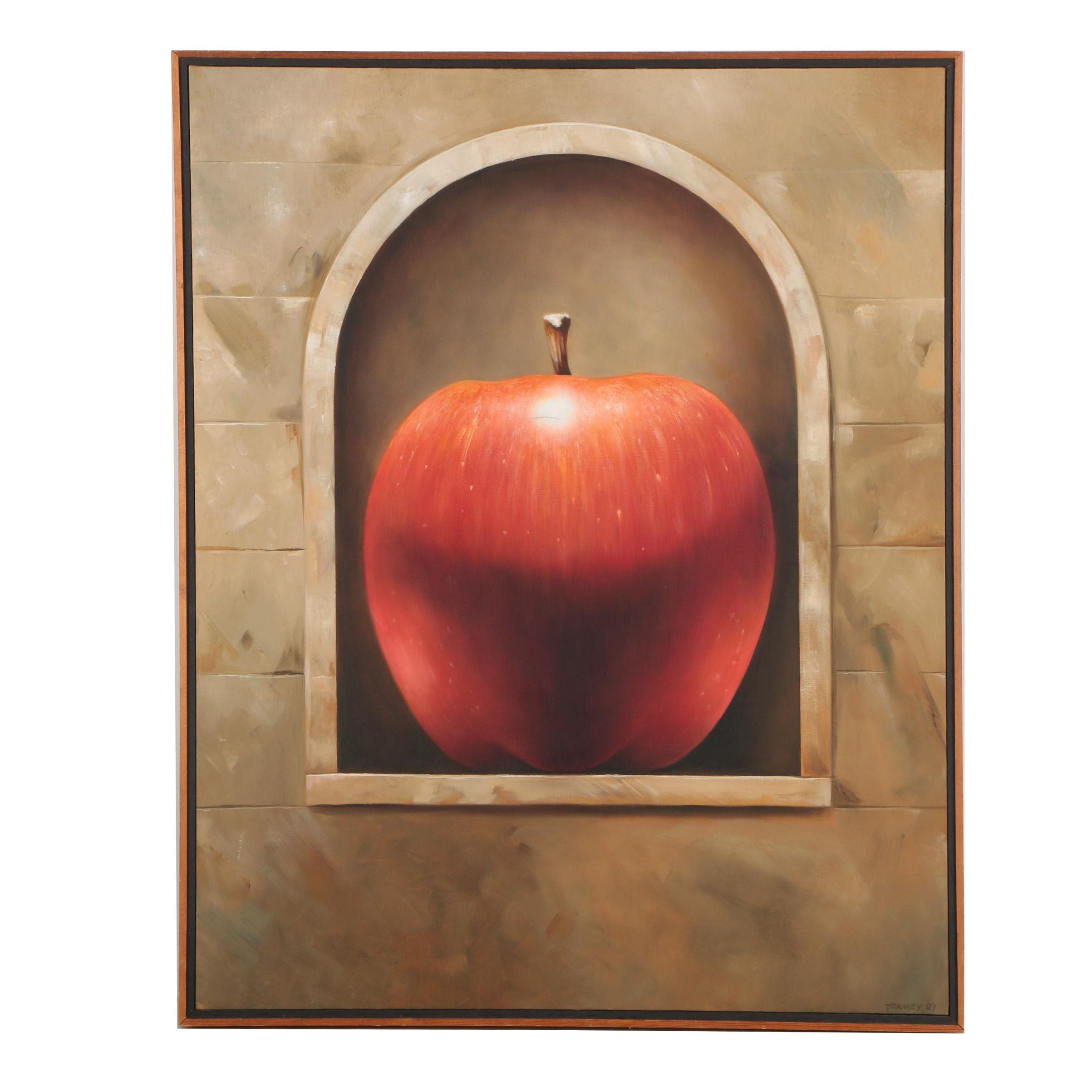 James Tormey 1987 Oil Painting of Apple