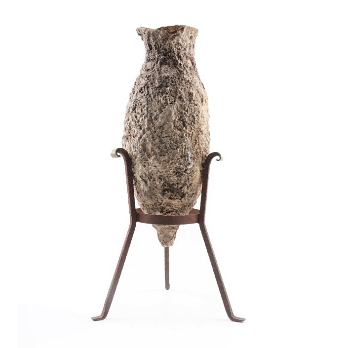 First Millenia Roman Amphora on Custom Iron Stand, Encrusted