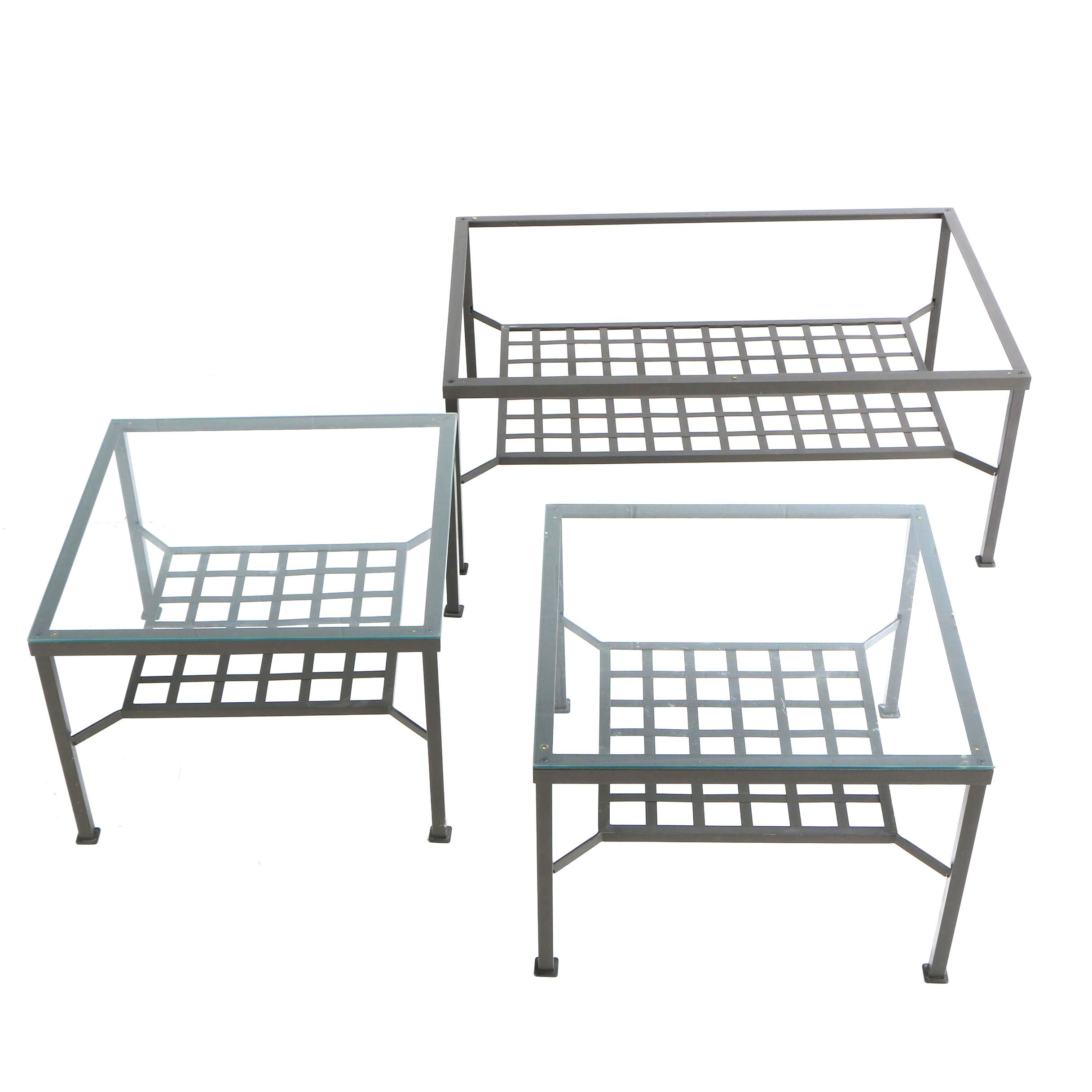 Contemporary Glass Top Metal Side Tables with Coffee Table Frame