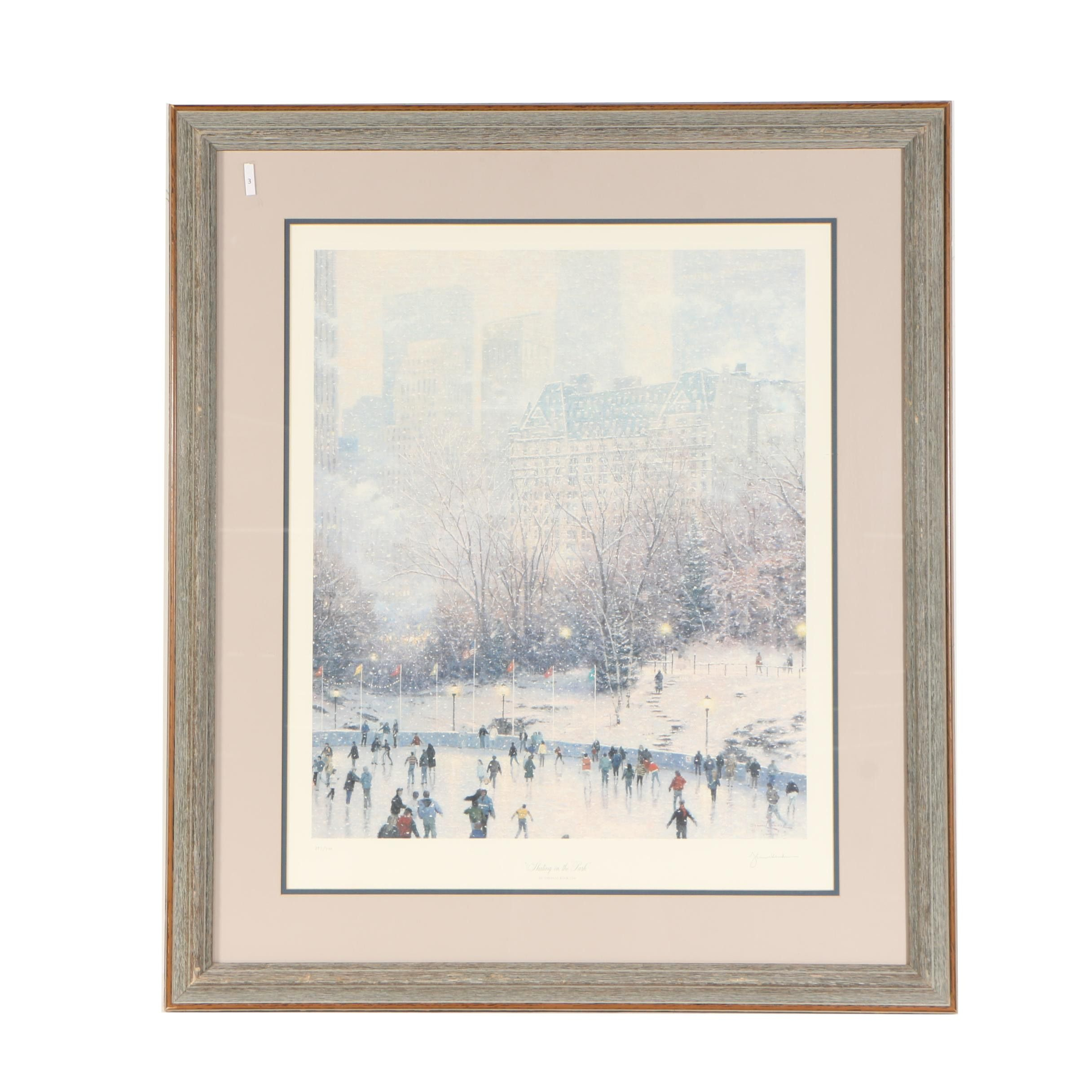"Thomas Kinkade Offset Lithograph ""Skating in the Park"""
